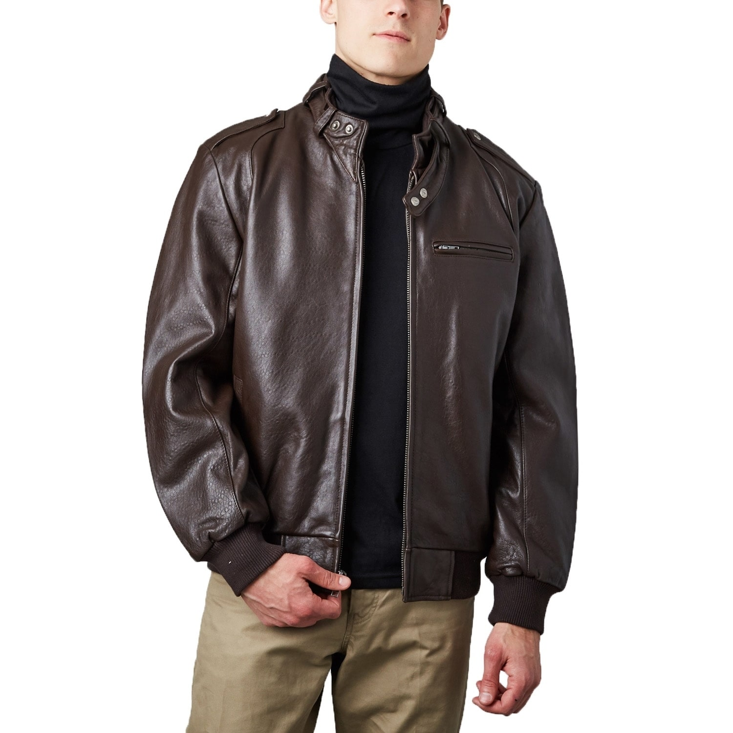 ff454282a Shop Men's Brown Lambskin Leather Bomber Jacket with Moto Collar ...