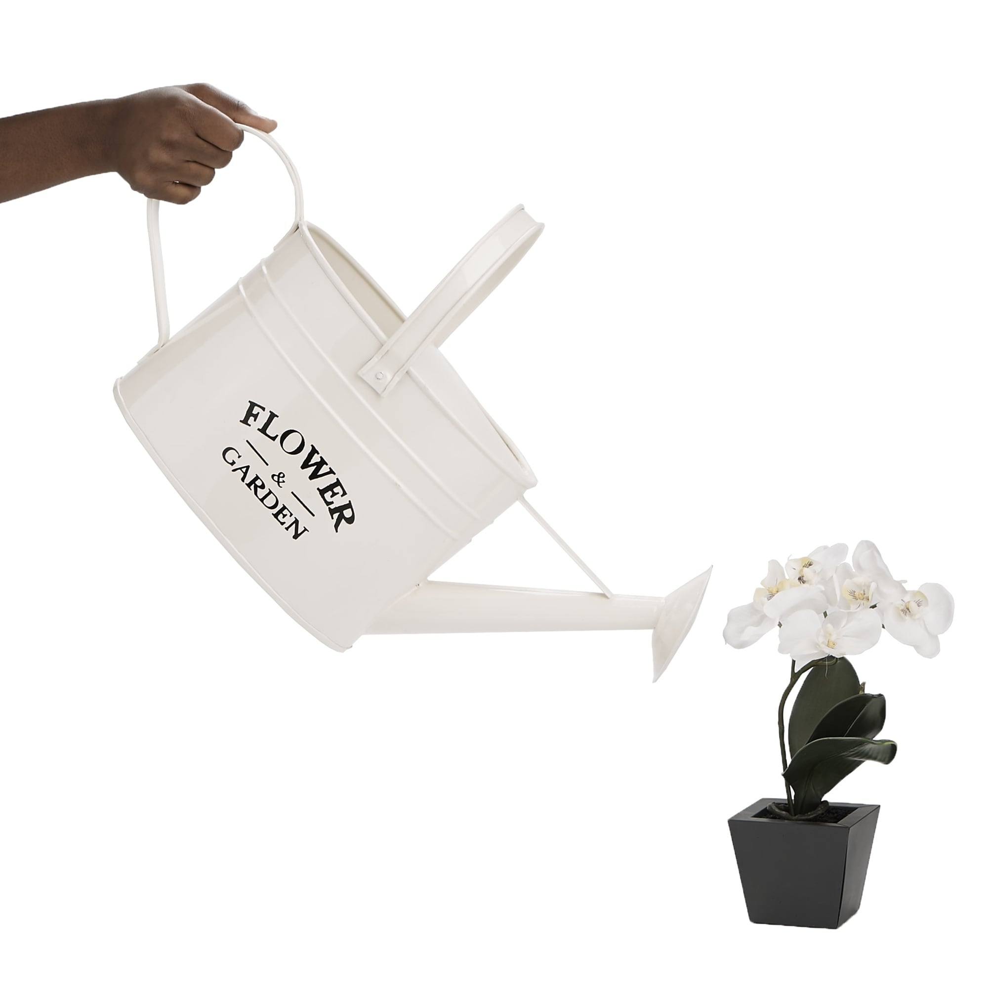 Mind Reader Iron Flower Water Pitcher With Spout Watering Can Home Furnishing Decorative Arrangements White Free Shipping On Orders
