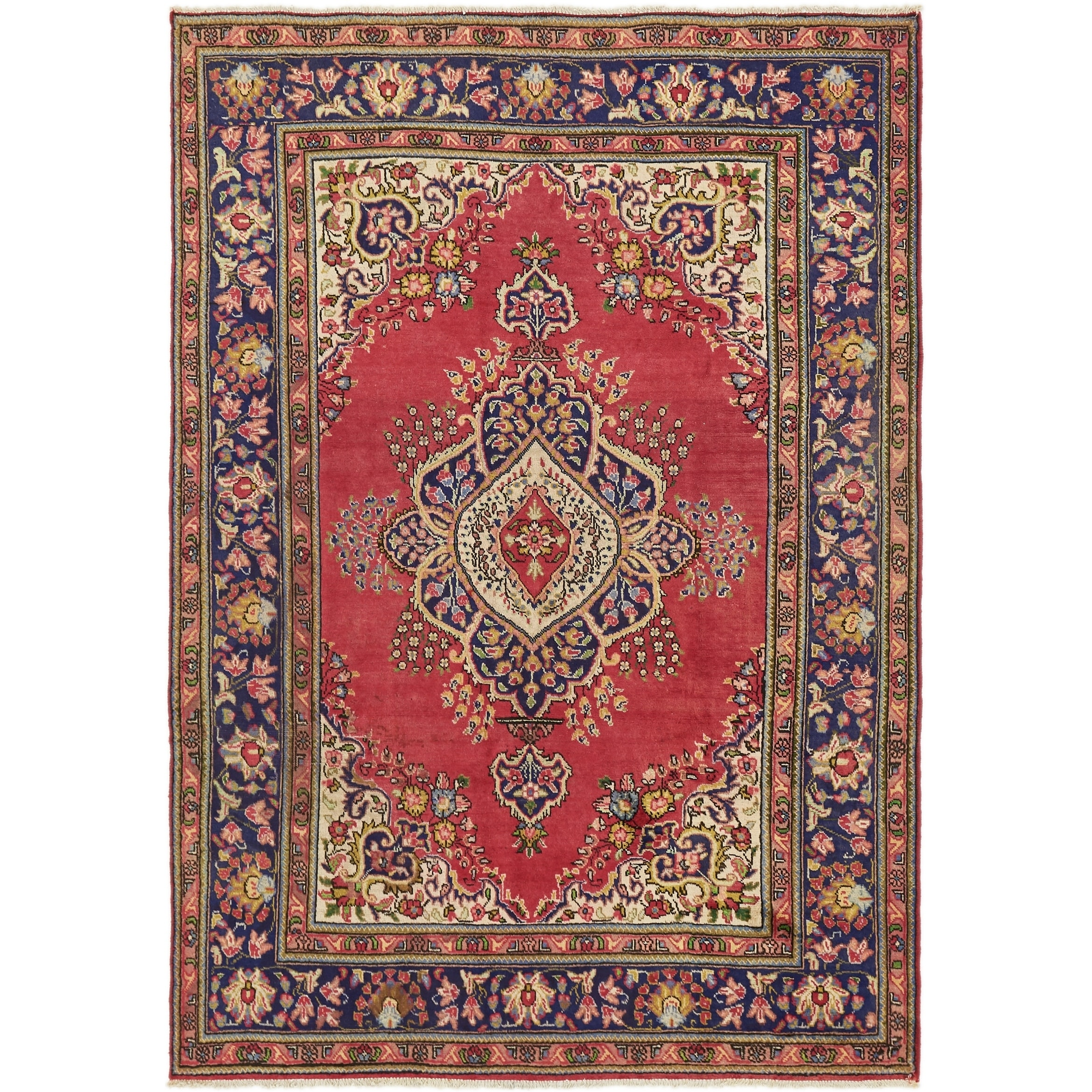 Hand Knotted Tabriz Semi Antique Wool Area Rug - 6' 7 x 9' 6