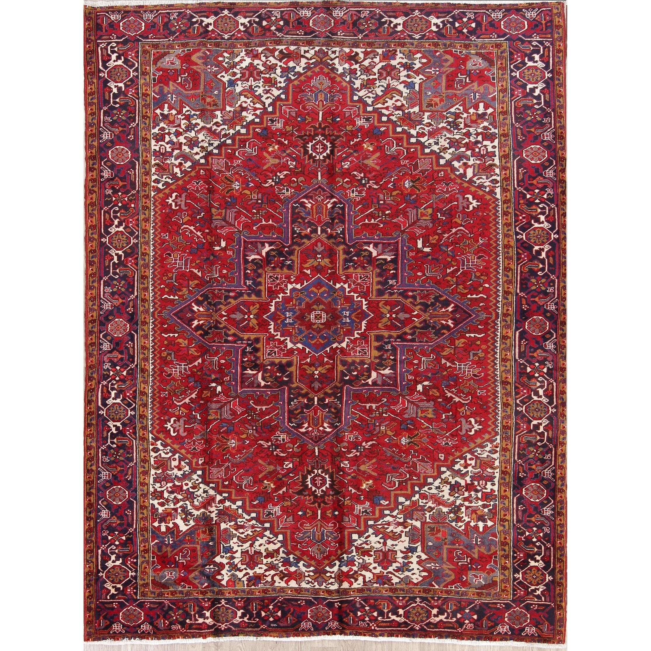 Vintage Handmade Oriental Heriz Serapi Red Persian Carpet Area Rug 11 2 X 8 5