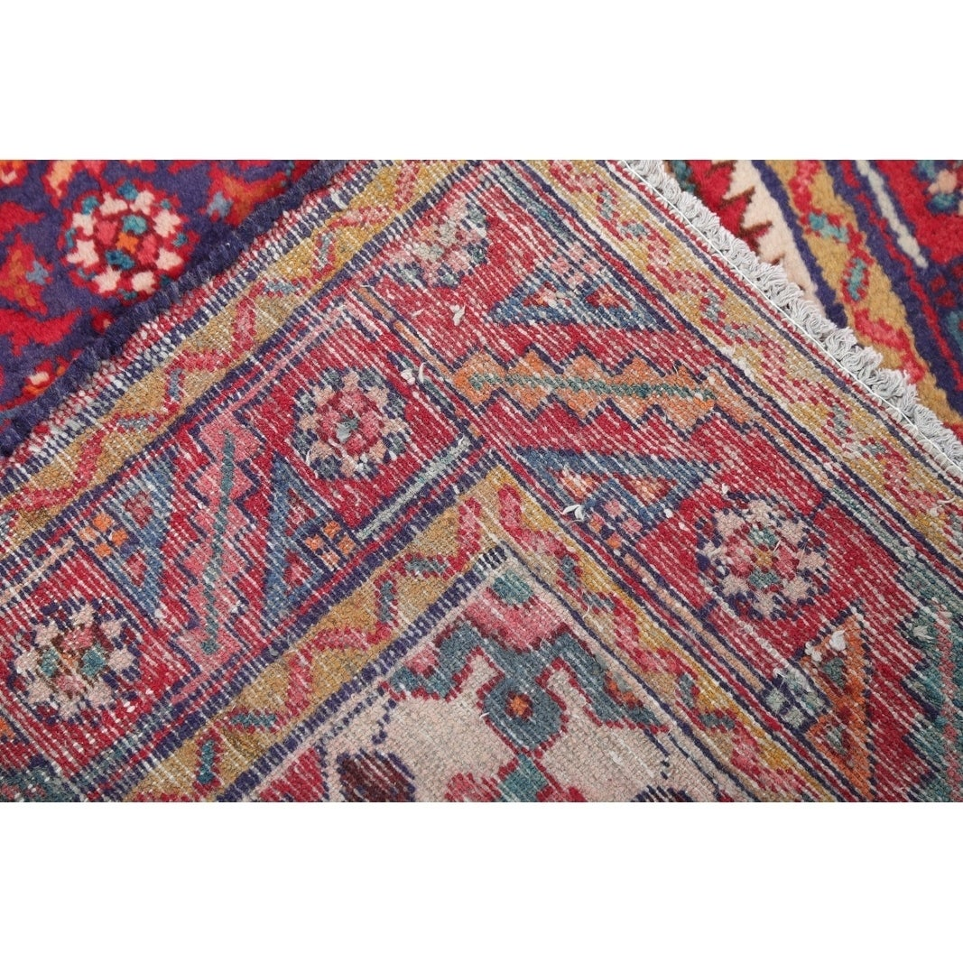 Vintage Hand Knotted Woolen Fl Hamedan Persian Rug 9 10 X 3 6 Runner Free Shipping Today Com 24114466