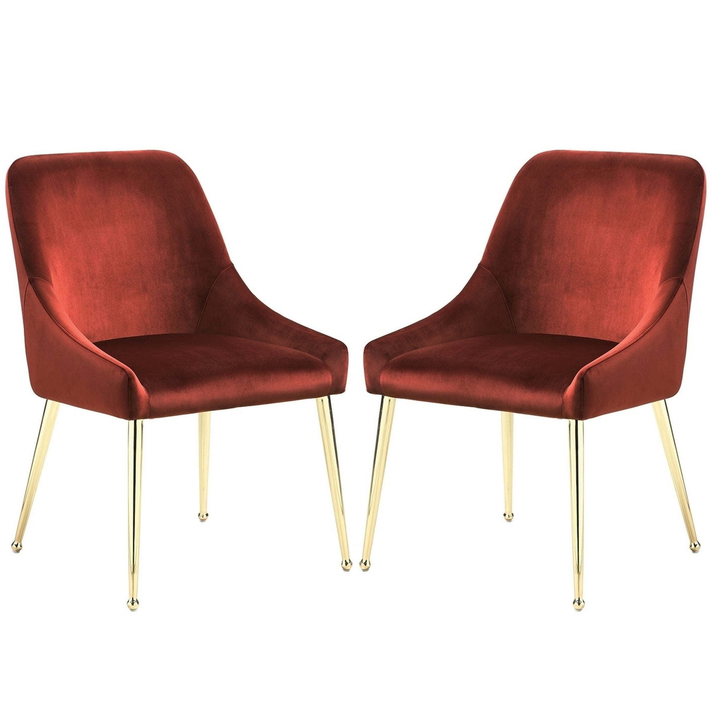 Mid Century Italian Design Clic Red Velvet Dining Chairs With Br Legs Set Of 2 Free Shipping Today 24115701