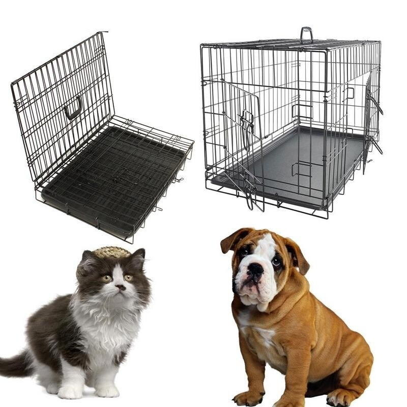 20 To 48 Folding Metal 2 Door Pet Kennel Playpen Dog Crate