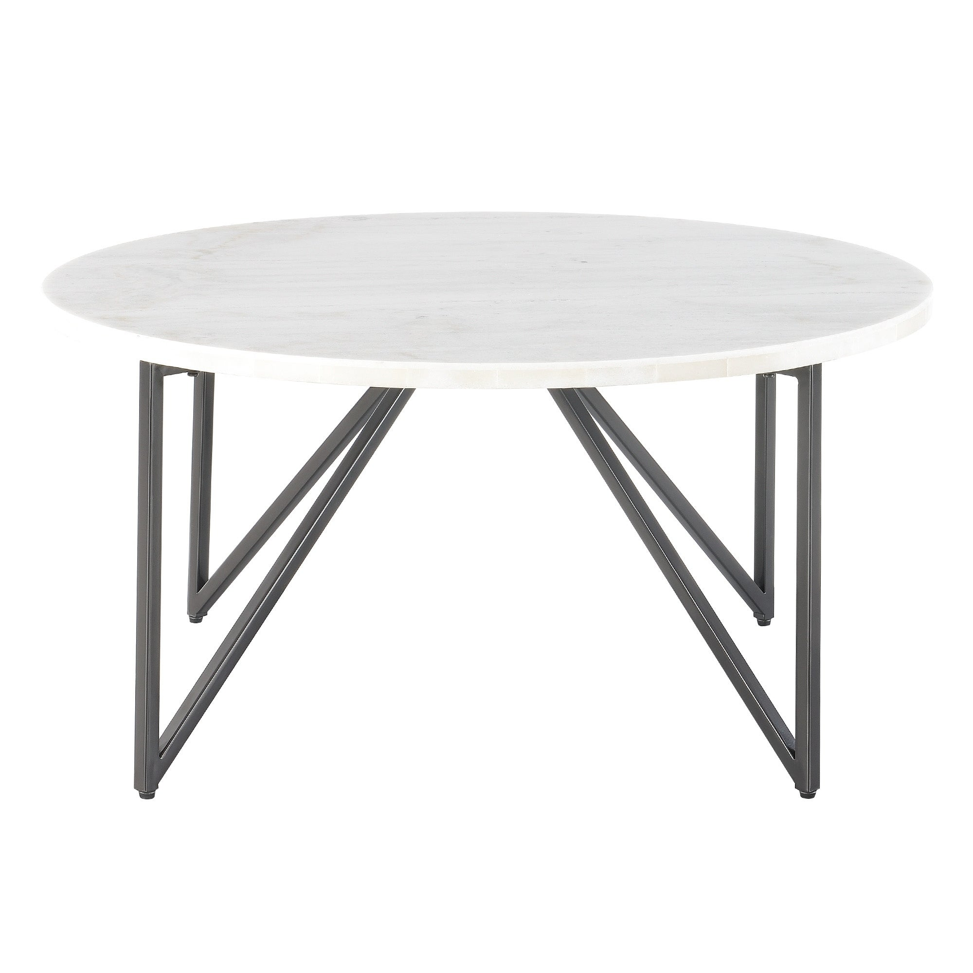88dbfdf338 Shop Picket House Furnishings Kinsler Round White/Black Marble/Metal Coffee  Table - Free Shipping Today - Overstock - 24120878