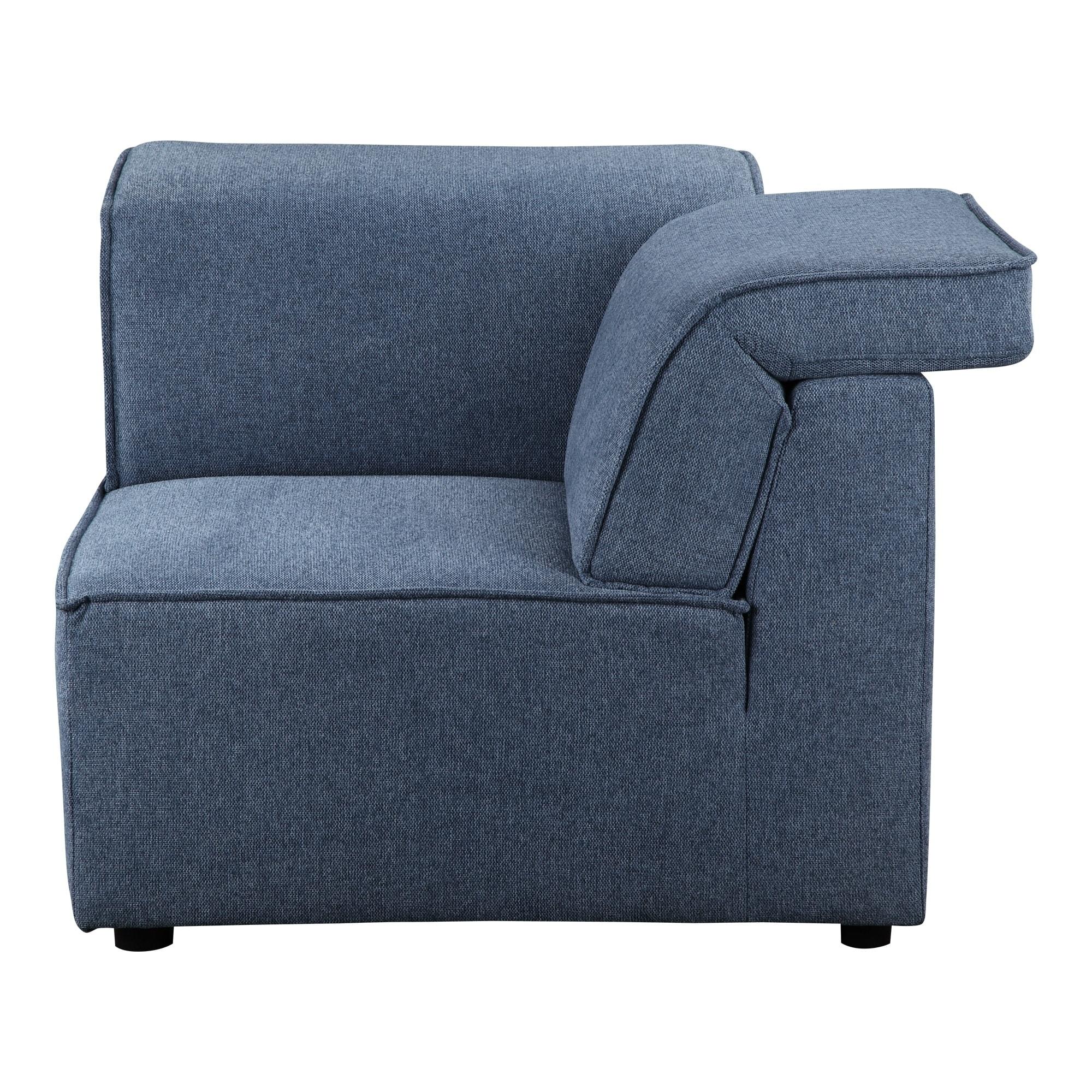 Shop Aurelle Home Riffle Navy Blue Corner Modular Sofa Element - On ...