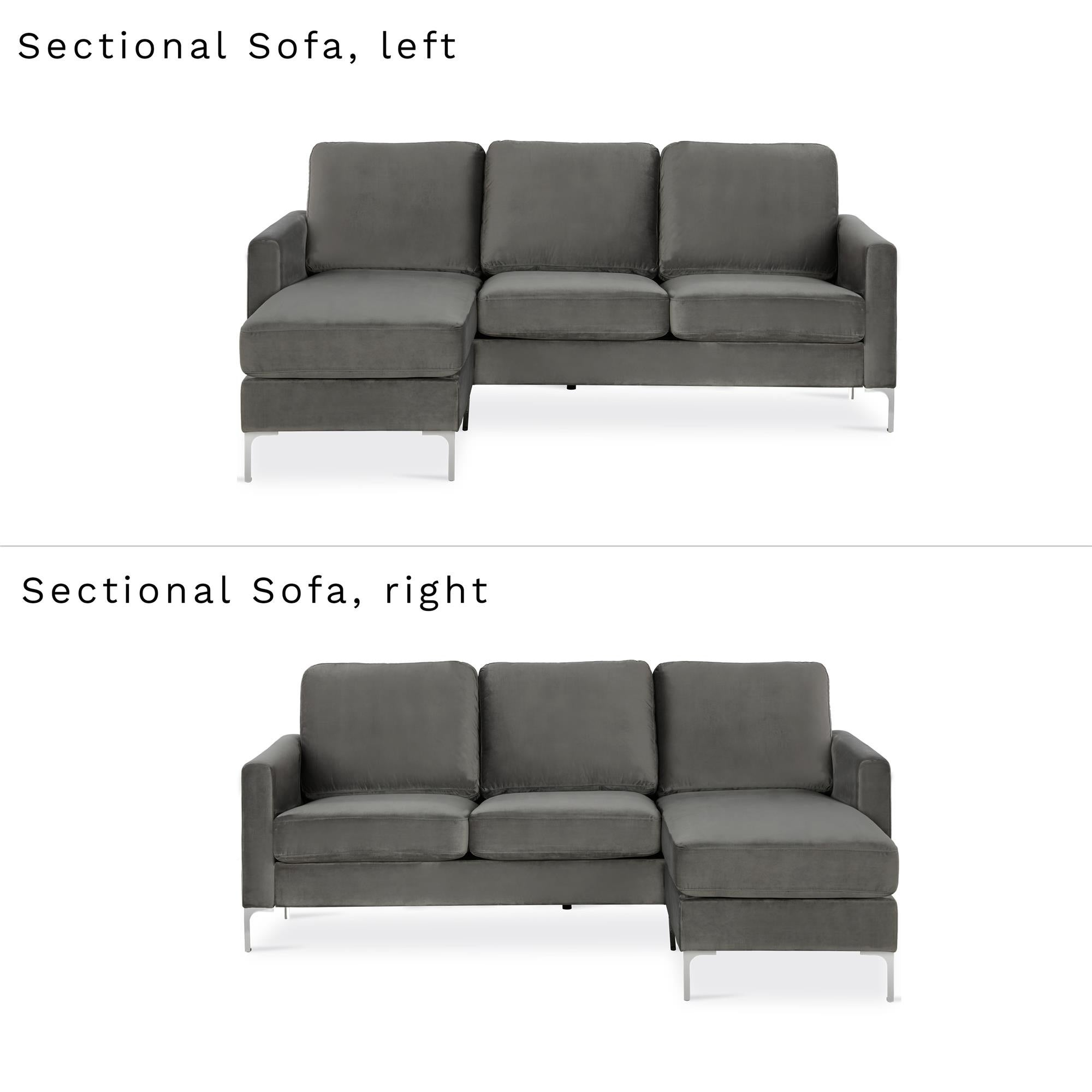 Novogratz Chapman Sectional Sofa With Chrome Legs On Free Shipping Today 24121753