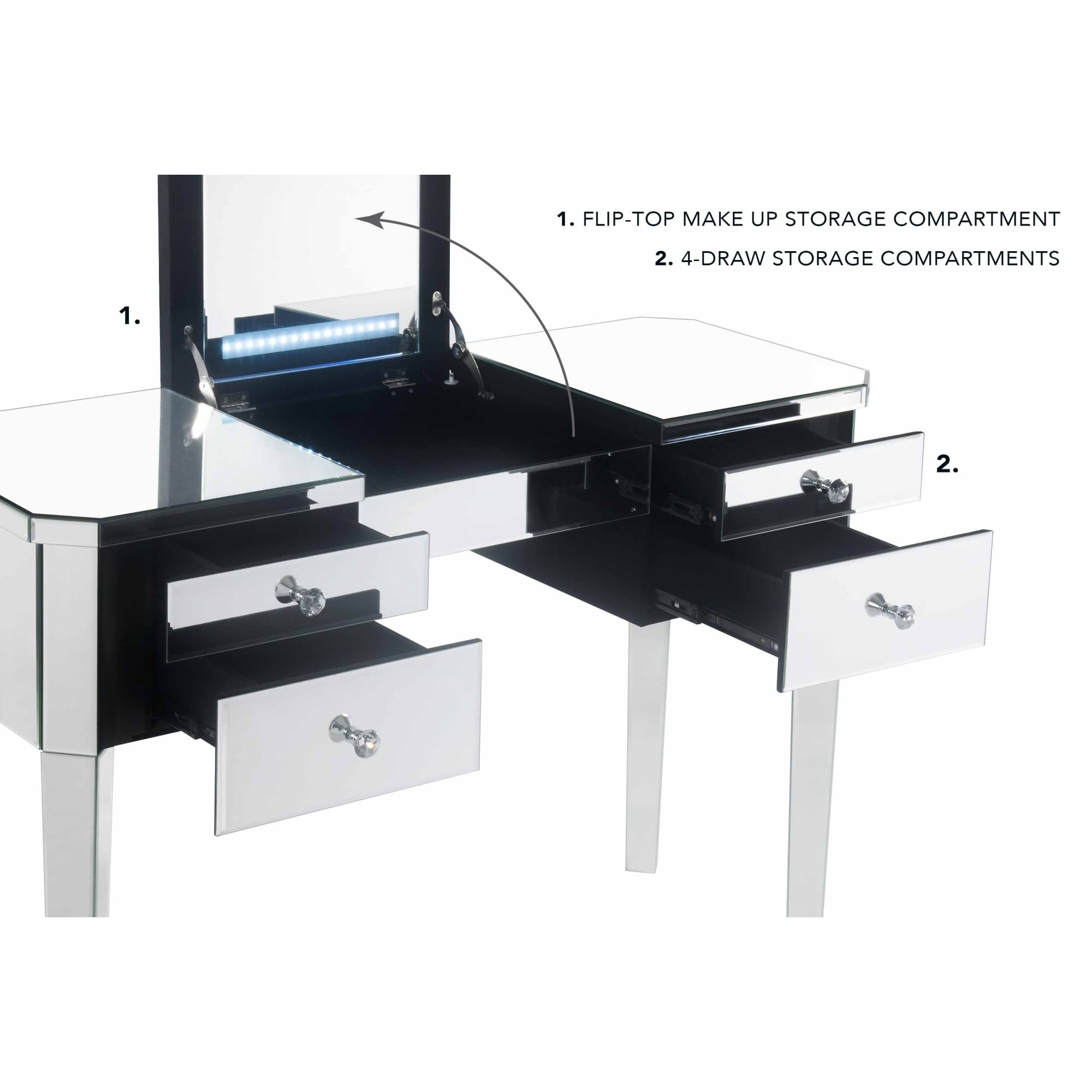 Shop addison mirrored makeup vanity table with 2 drawers or 4 drawers on sale free shipping today overstock com 24122788