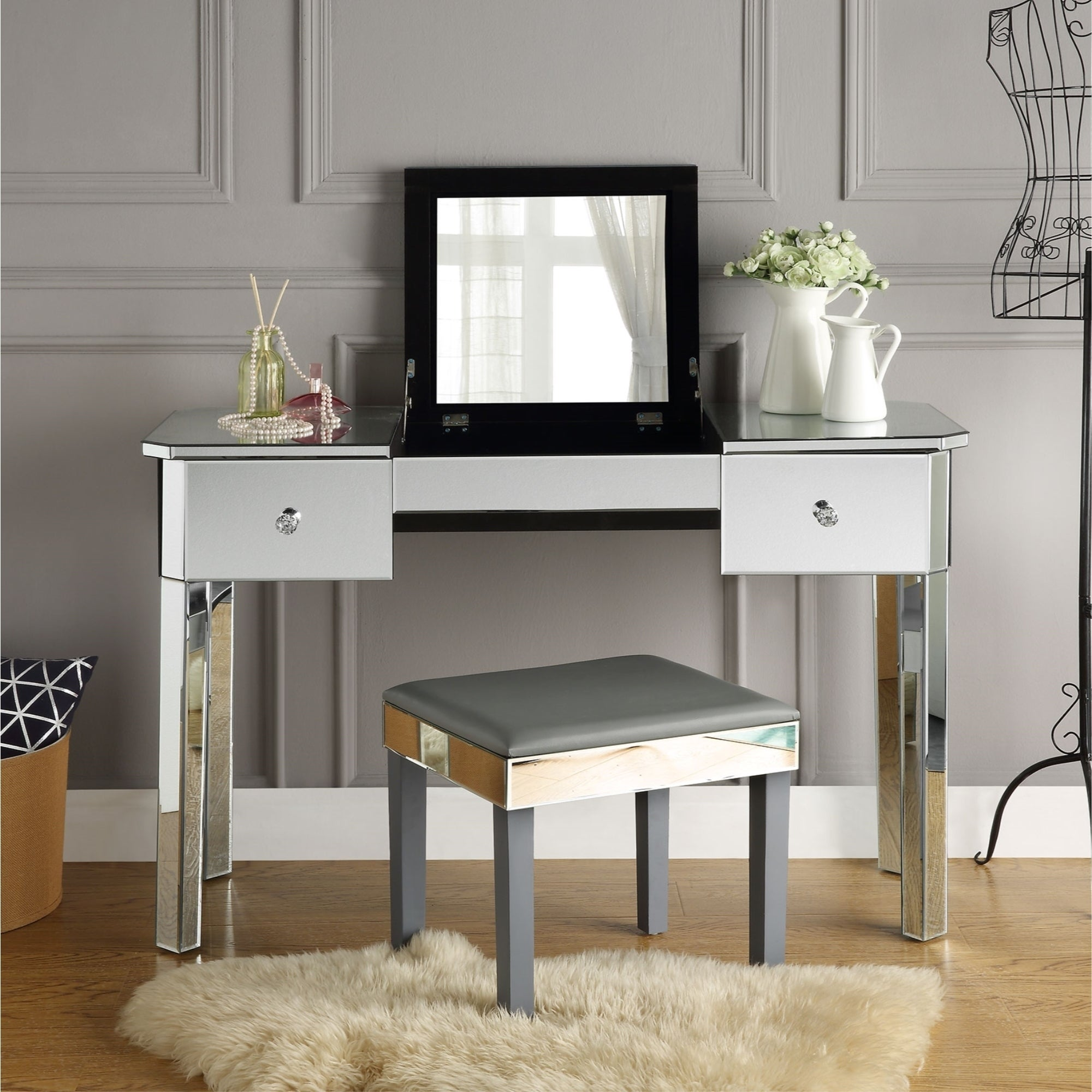 Shop addison mirrored makeup vanity table with 2 drawers on sale free shipping today overstock com 24122788