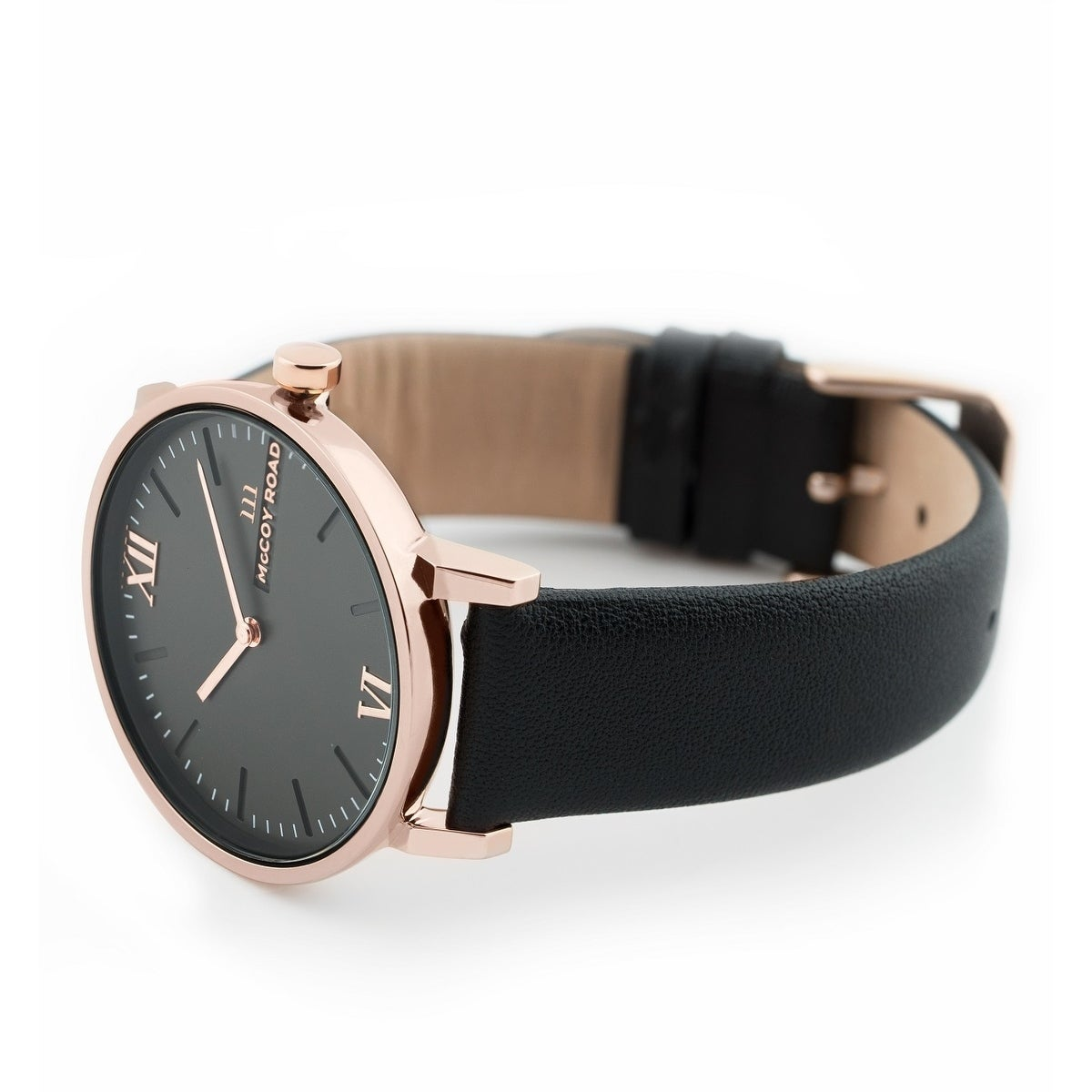 7b9fd7680156f Shop McCoy Road  Seven50  Stainless Steel Rose Gold Tone and Black Leather  Strap Watch - Free Shipping Today - Overstock - 24126809