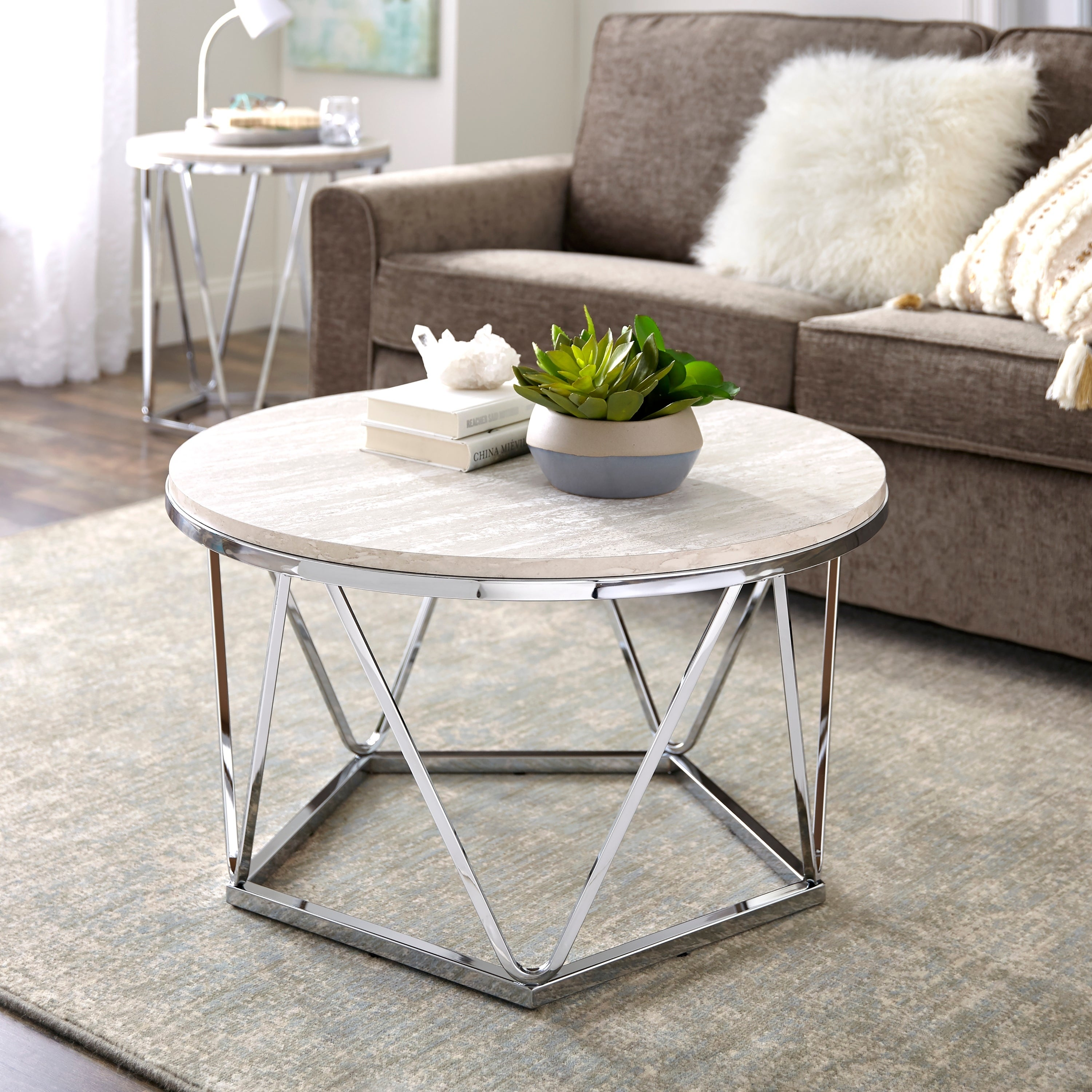 Harper Blvd Lola Faux Stone Round Coffee Table Free Shipping Today 24142955
