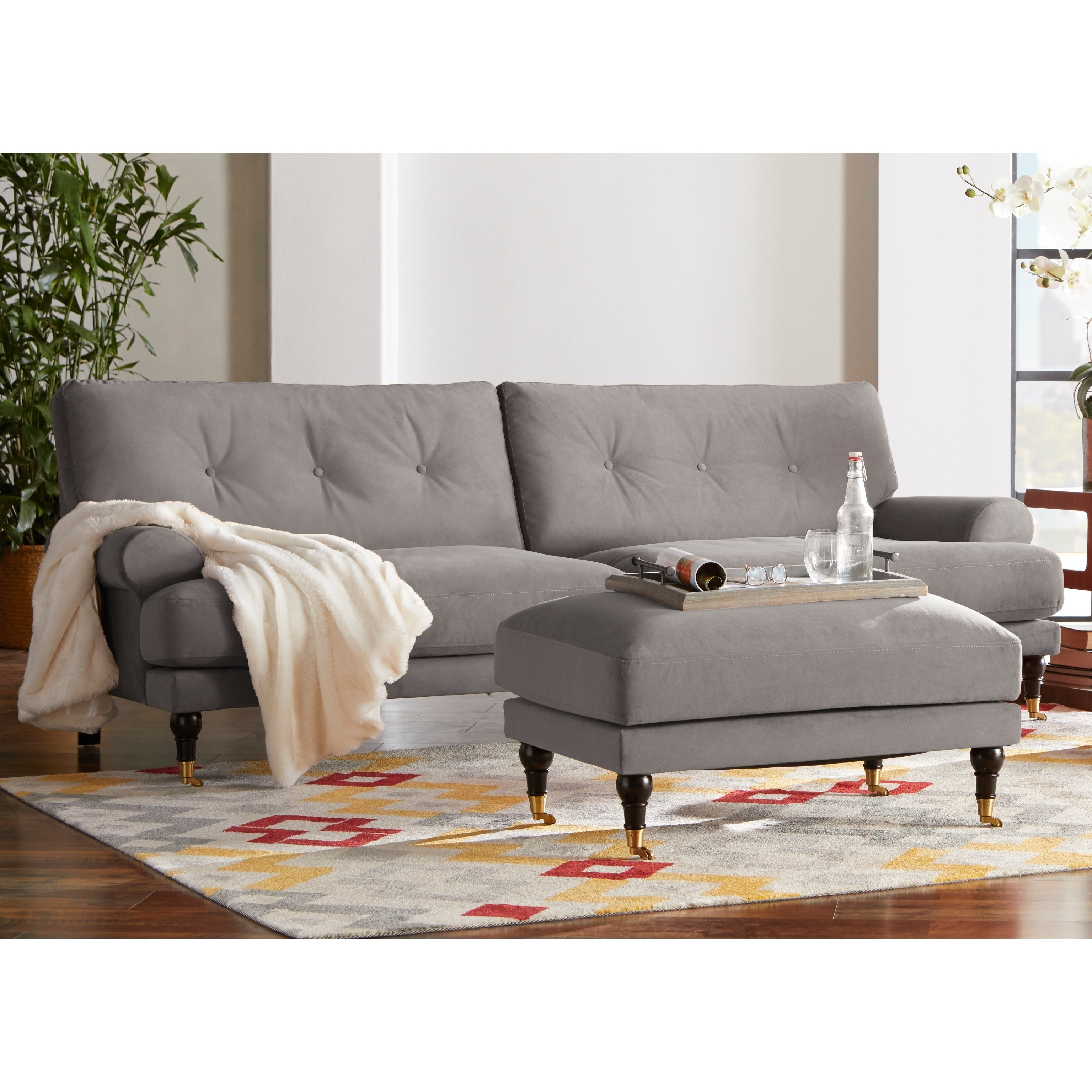 Shop Contemporary Fabric Rolled Arm Sofa - 31 inches h x 92 inches ...