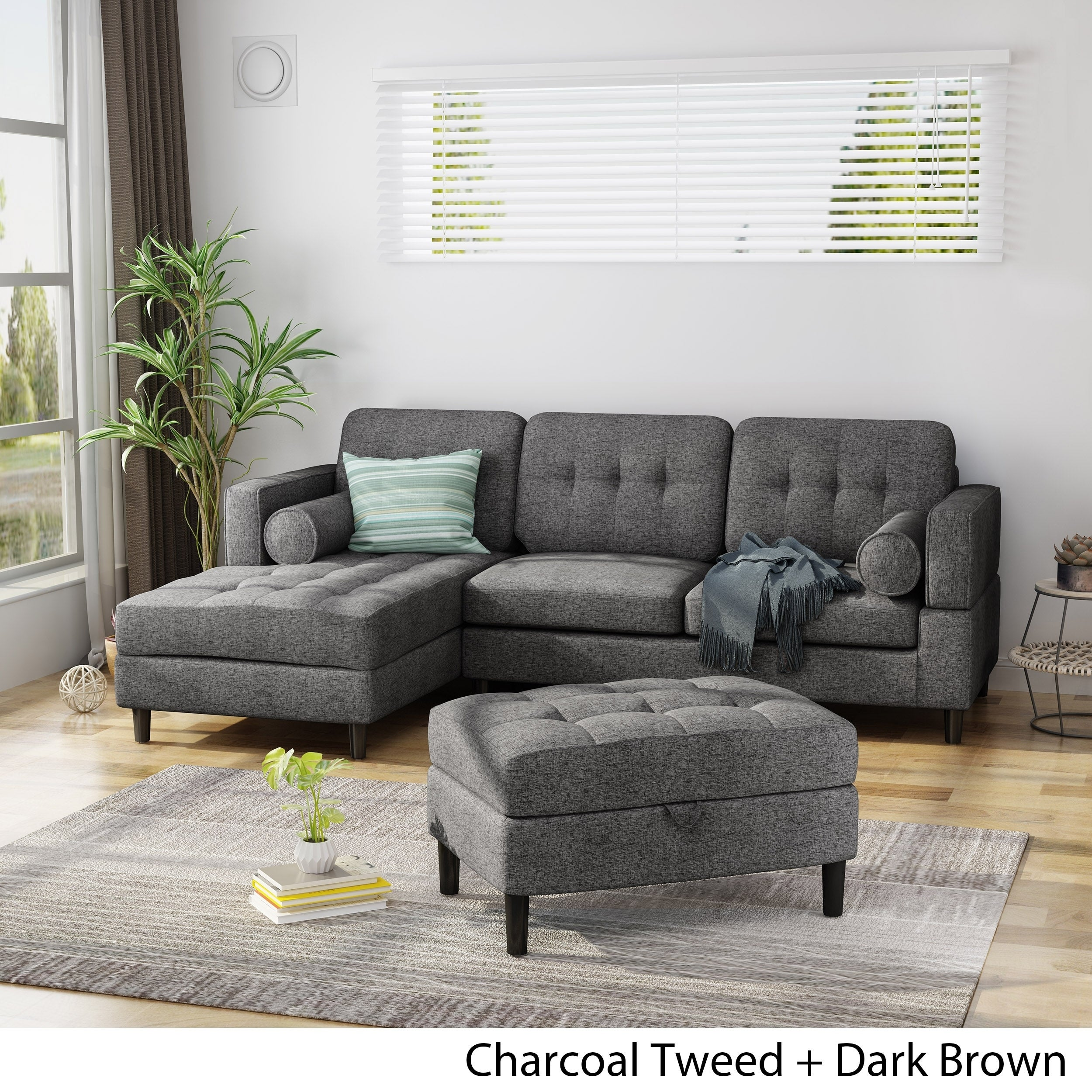 Shop Florentia Upholstered 2 Piece Chaise Sectional Sofa Set With