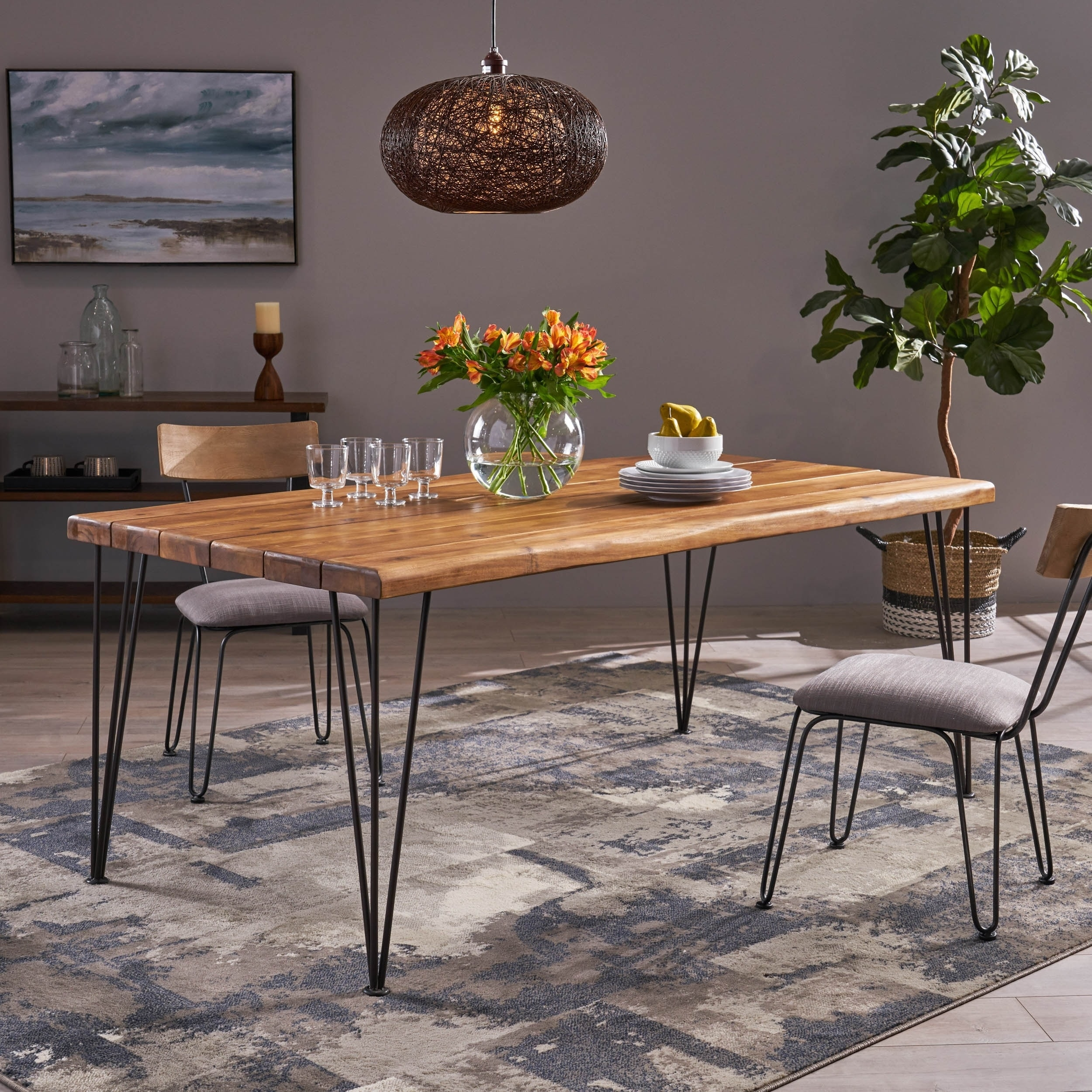 Zion outdoor 72 rectangular acacia wood dining table with iron hairpin legs by christopher knight home