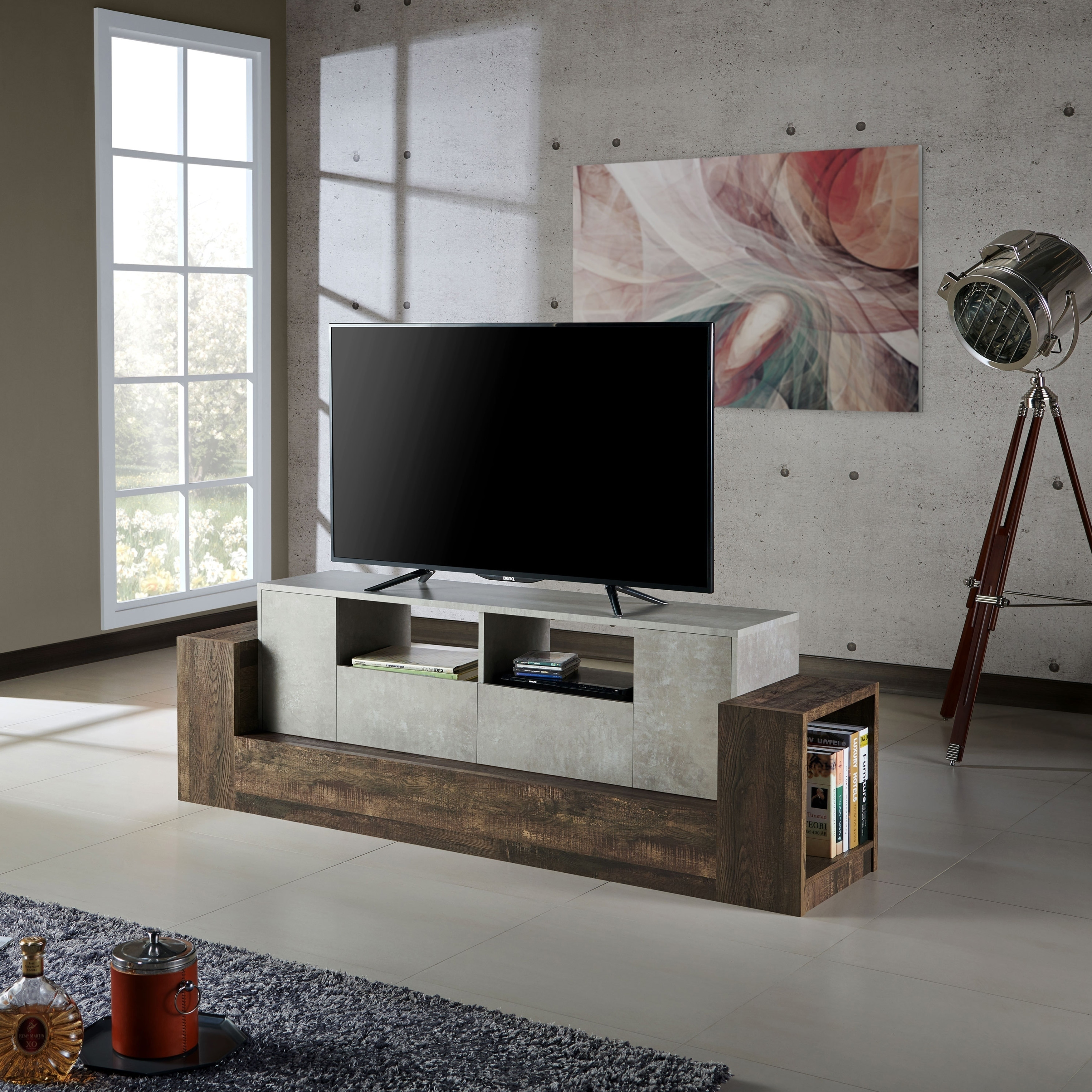 Shop Zeddy Industrial 71-inch Reclaimed Oak Faux Concrete TV Stand ...