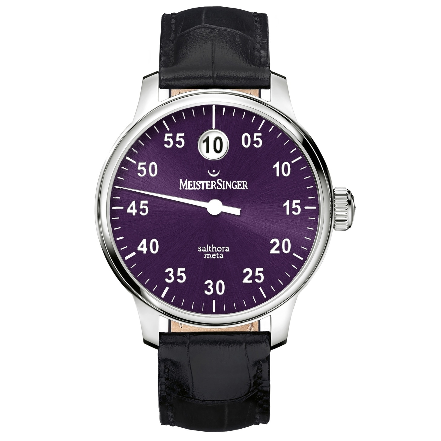 269c0cc28 Shop MeisterSinger Men's SAM9010 'Salthora Meta' Purple Dial Black Leather  Strap Jumping Hour Automatic Watch - Free Shipping Today - Overstock -  24183789