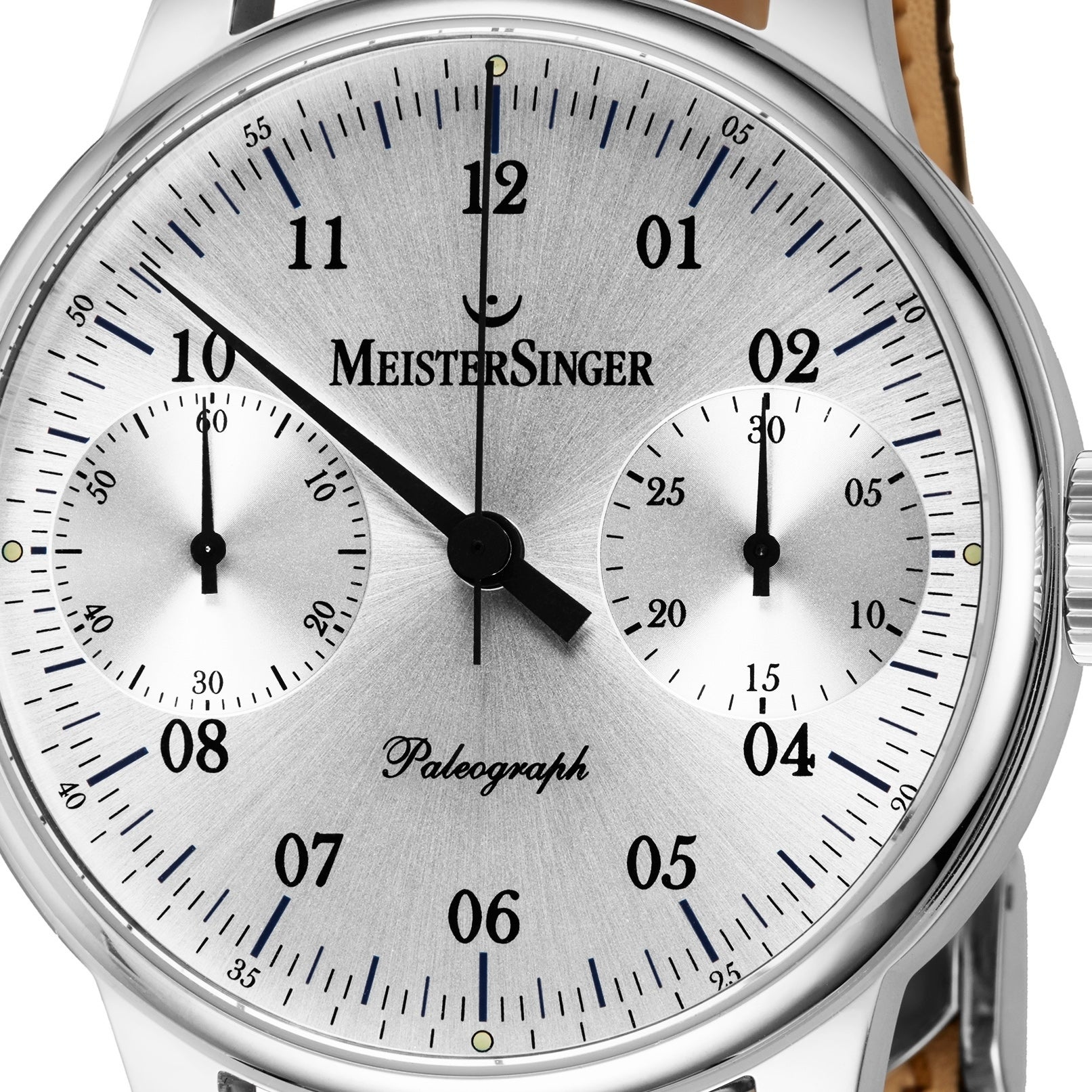 0809a75e2 Shop MeisterSinger Men's ED-SC101 'Paleograph' Silver Dial Black Leather  Strap Chronograph Automatic Watch - Free Shipping Today - Overstock -  24183790