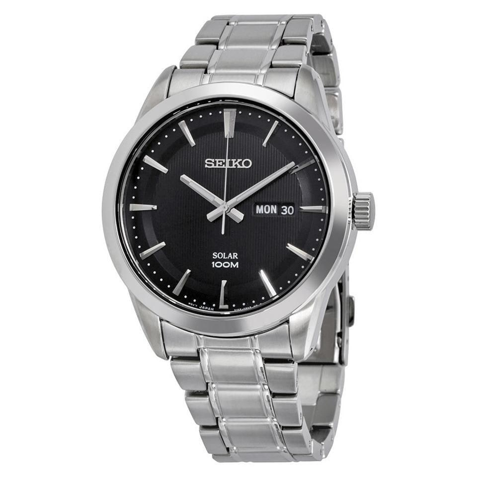 7d06bebde Shop Seiko Men's SNE363 'Solar' Black Leather Watch - Free Shipping Today -  Overstock - 24186039