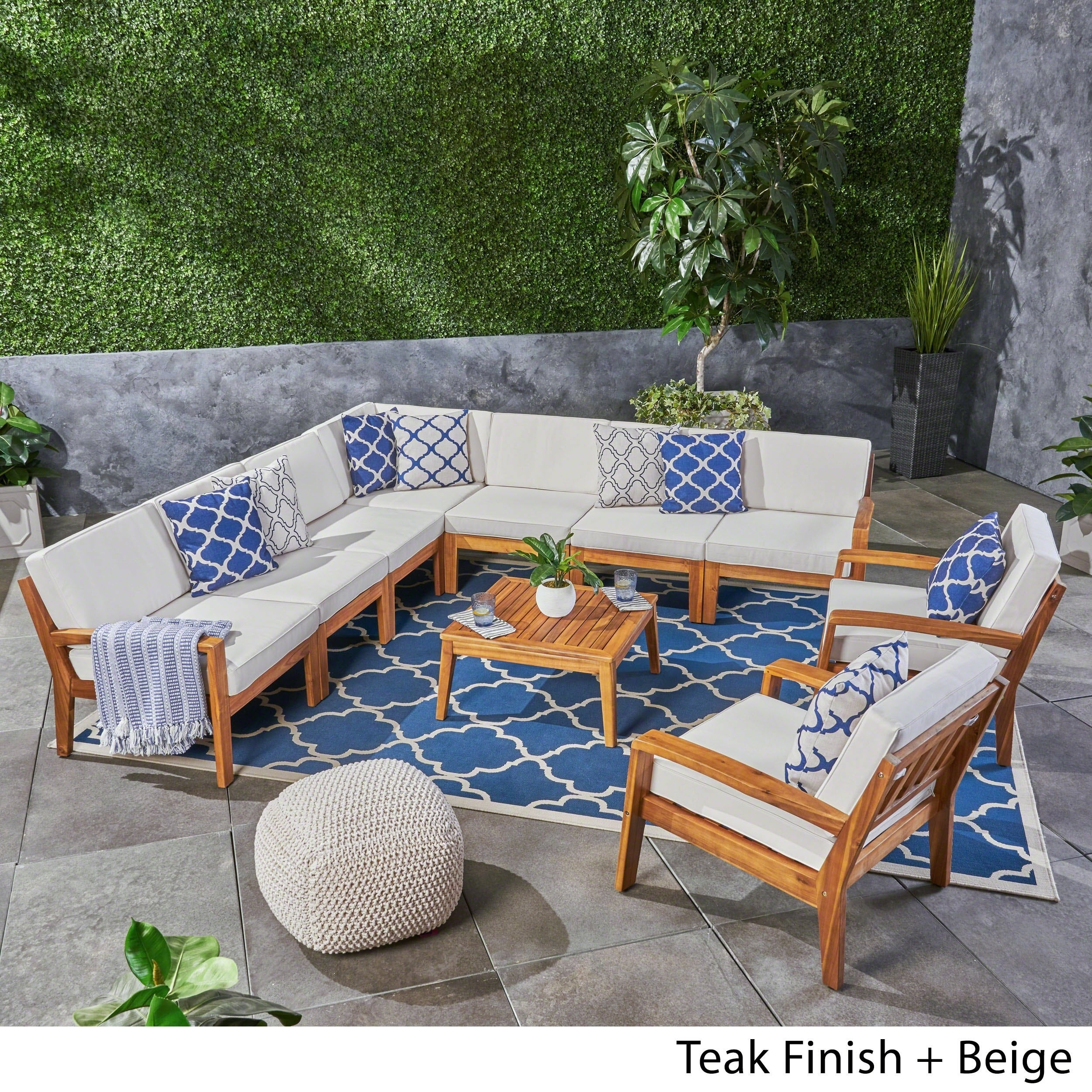 Shop Grenada Outdoor Acacia Wood Sectional Sofa Set By Christopher