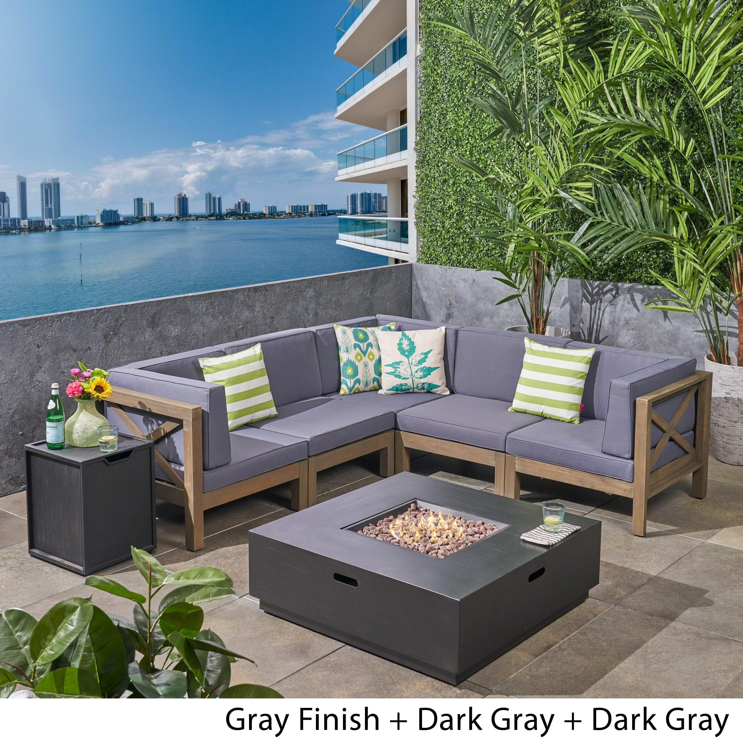 Shop Culatra Outdoor 7 Piece Acacia Wood Sectional Sofa Set With