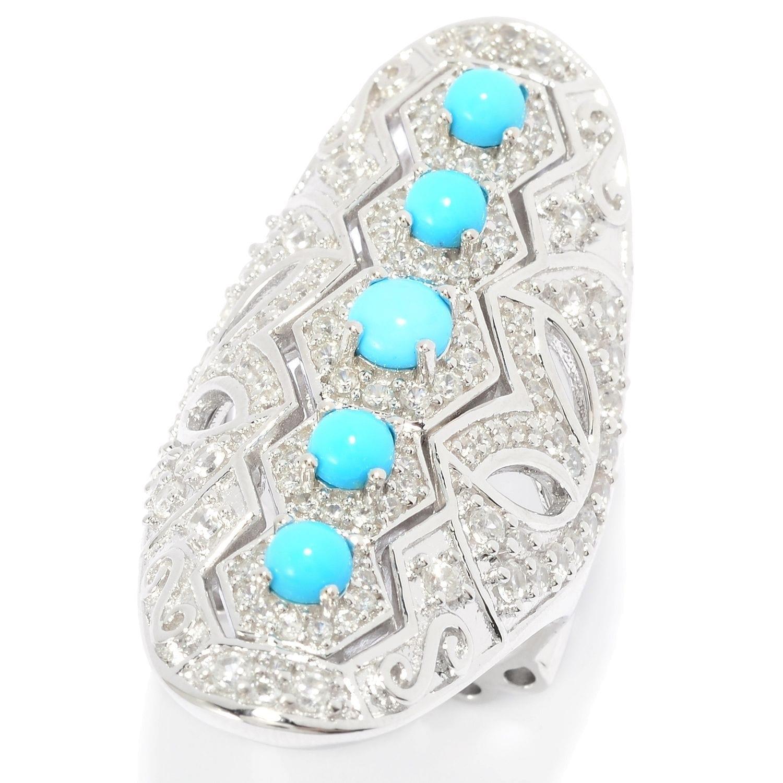 eeee41cd6ab318 Shop Pinctore Sleeping Beauty Turquoise & White Zircon Shield Ring ...