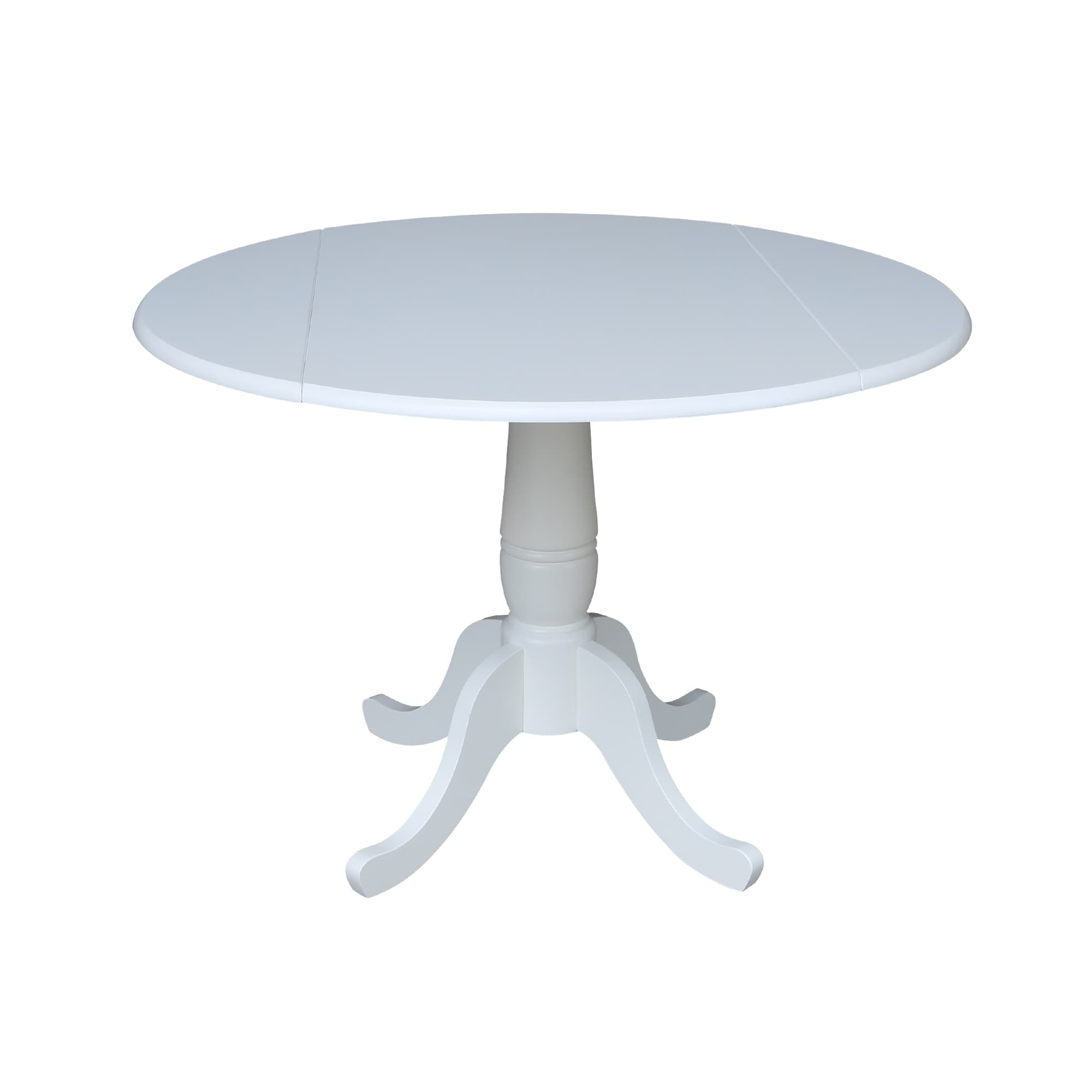 Shop 42 In Round Top Dual Drop Leaf Table White On Sale Free