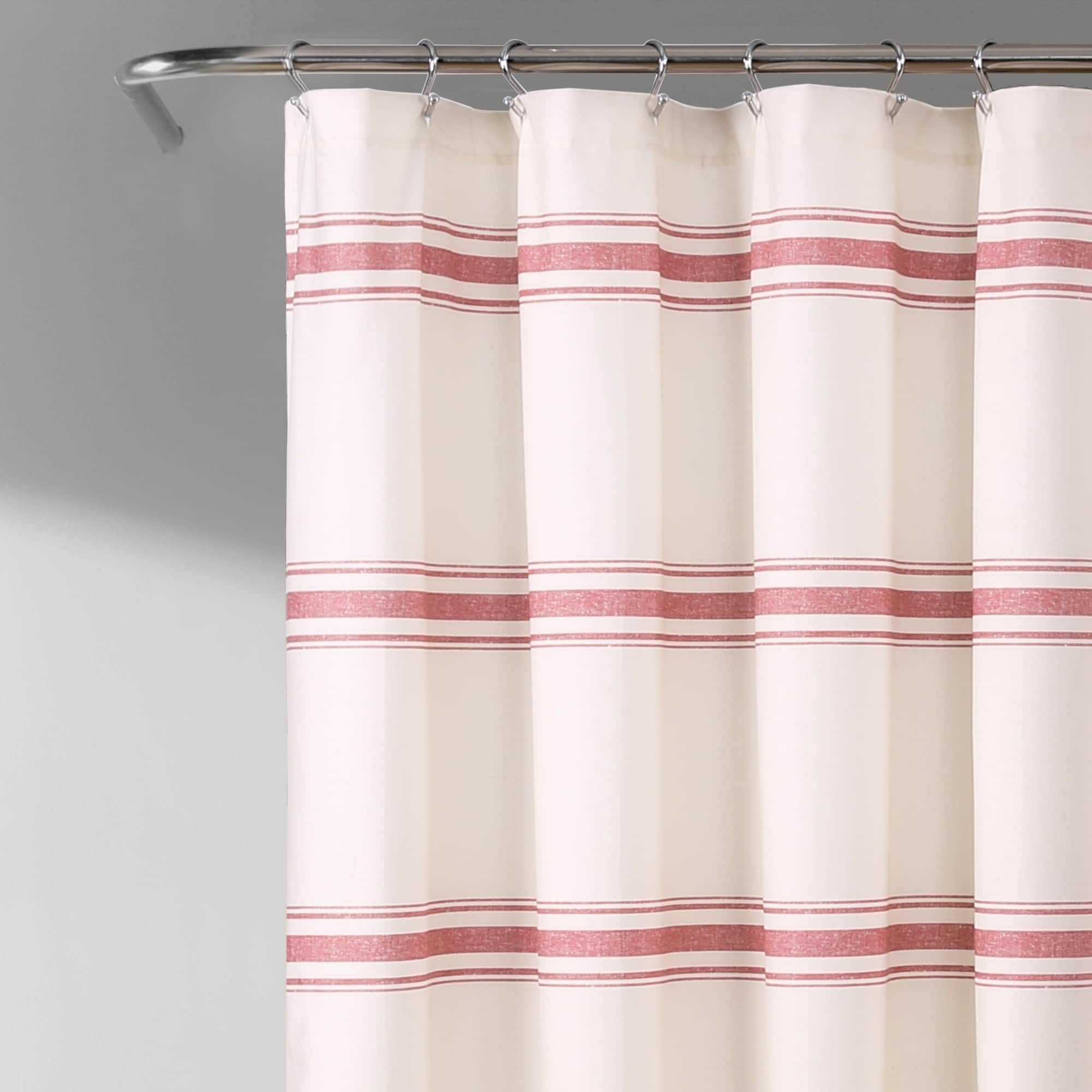 Lush Decor Farmhouse Stripe Shower Curtain