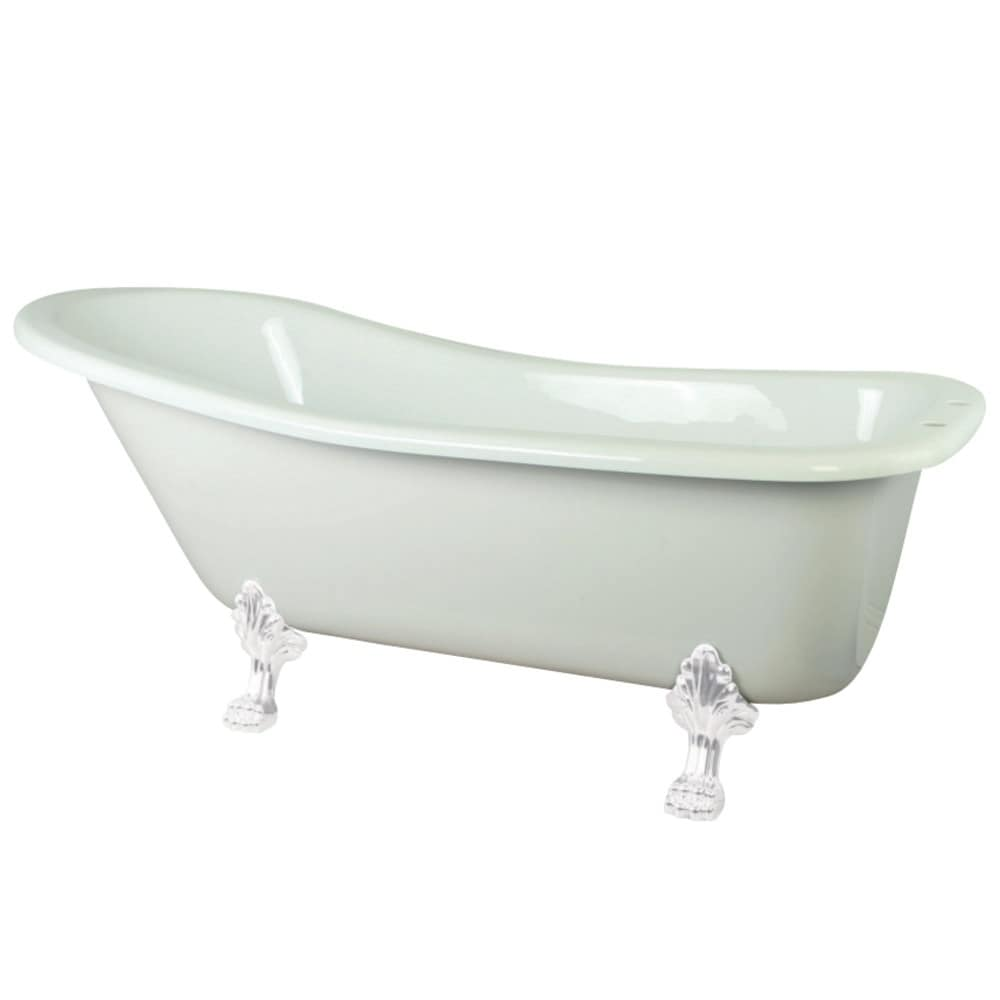 Shop slipper 69 inch acrylic clawfoot tub with white feet free shipping today overstock com 24216218