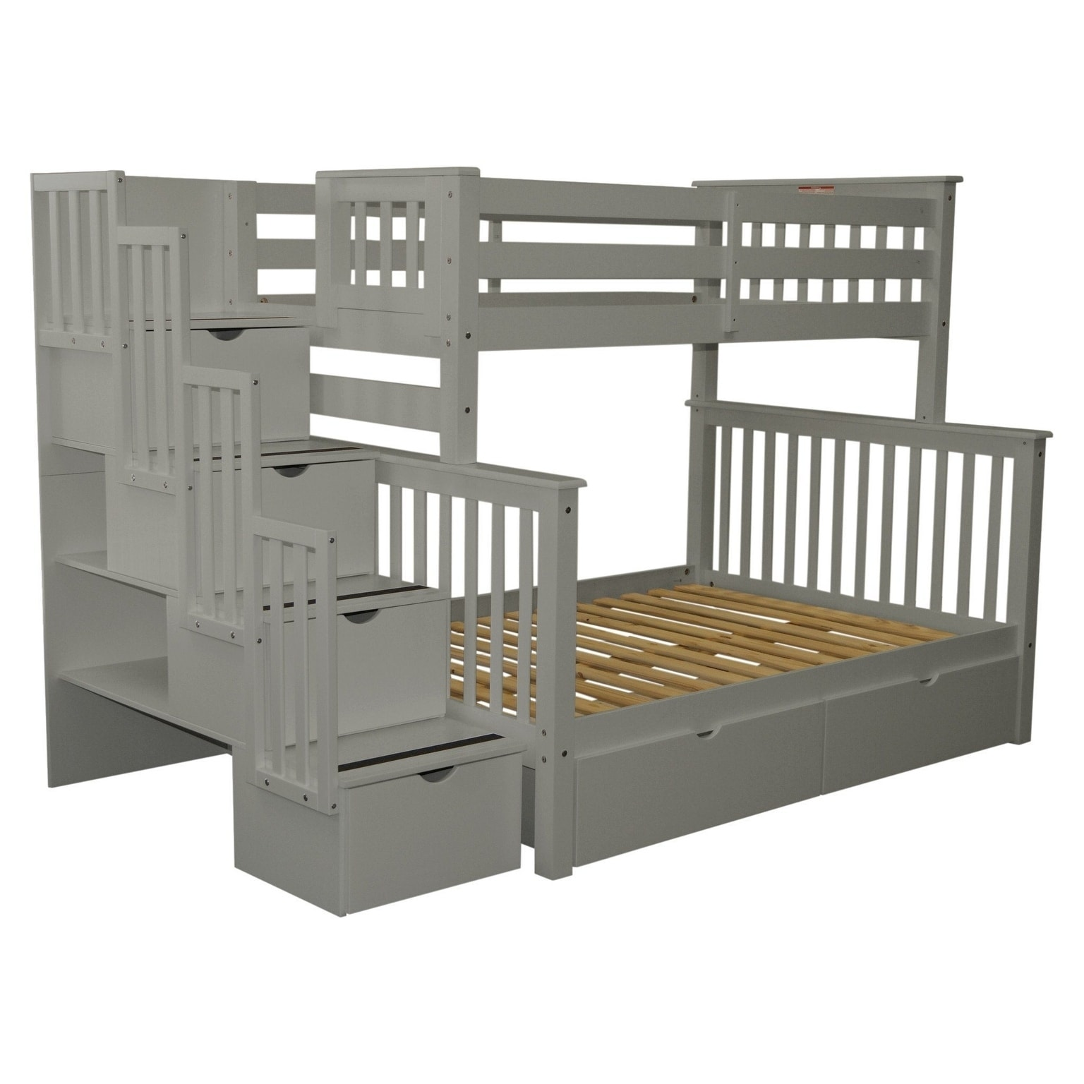 Shop Bedz King Grey Wood Stairway Twin Over Full With 4 Drawers In The  Steps And 2 Under Bed Drawers Bunk Bed   Free Shipping Today    Overstock.com   ...