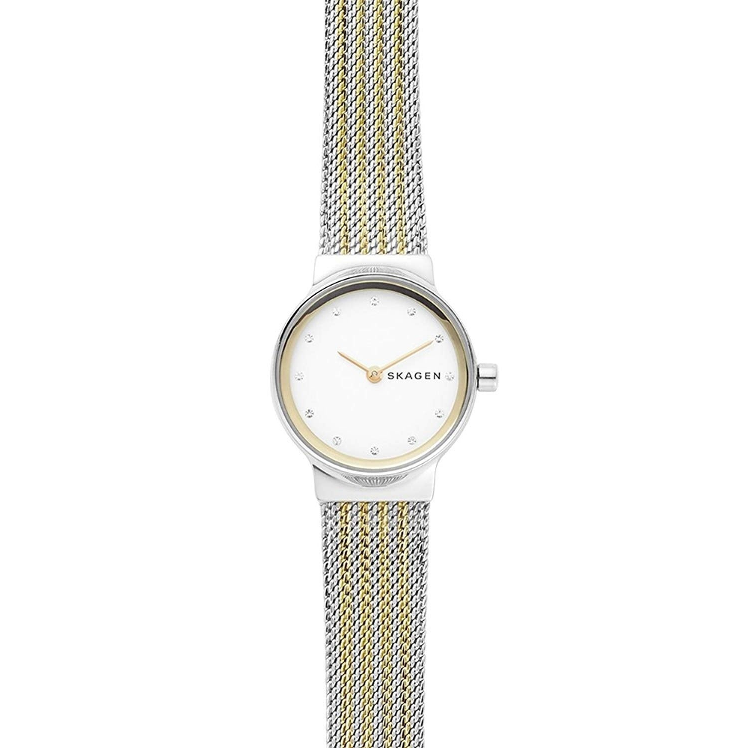 9839859f0320 Shop Skagen Women s SKW2698 Freja White Dial Two-Tone Stainless Steel Mesh  Bracelet Watch - Free Shipping Today - Overstock - 24216407