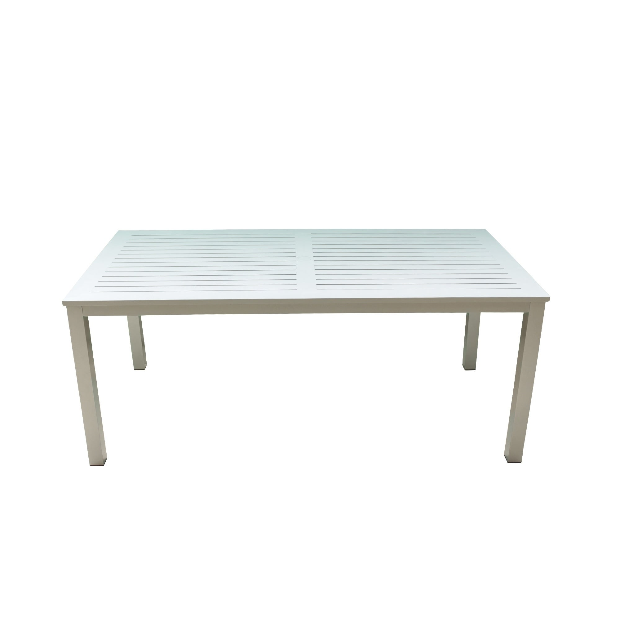 Courtyard Casual Skyline Grey White Aluminum Outdoor Rectangle Dining Table