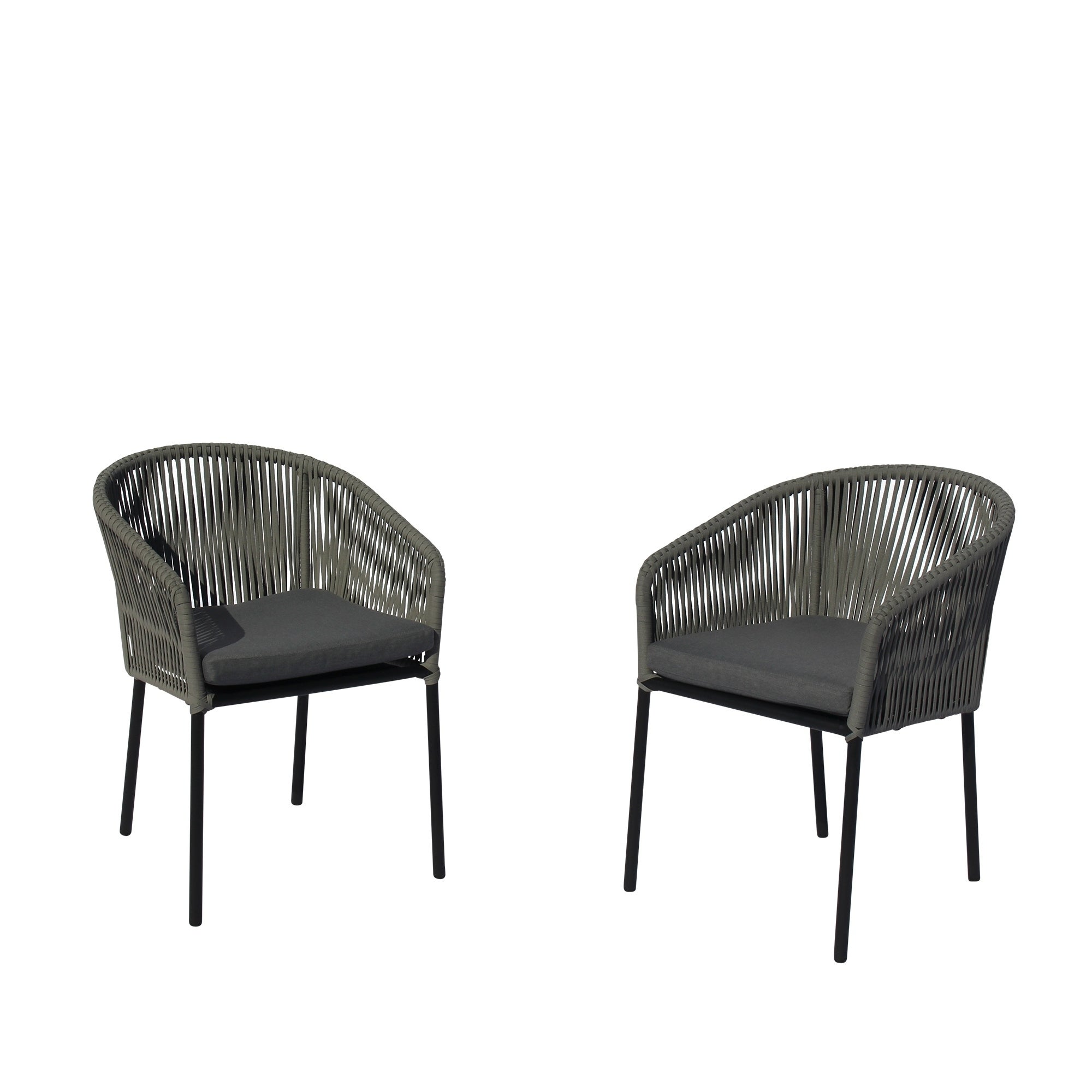 Courtyard Casual Osborne Black Aluminum Outdoor Dining Chairs With Cushions Set Of 2