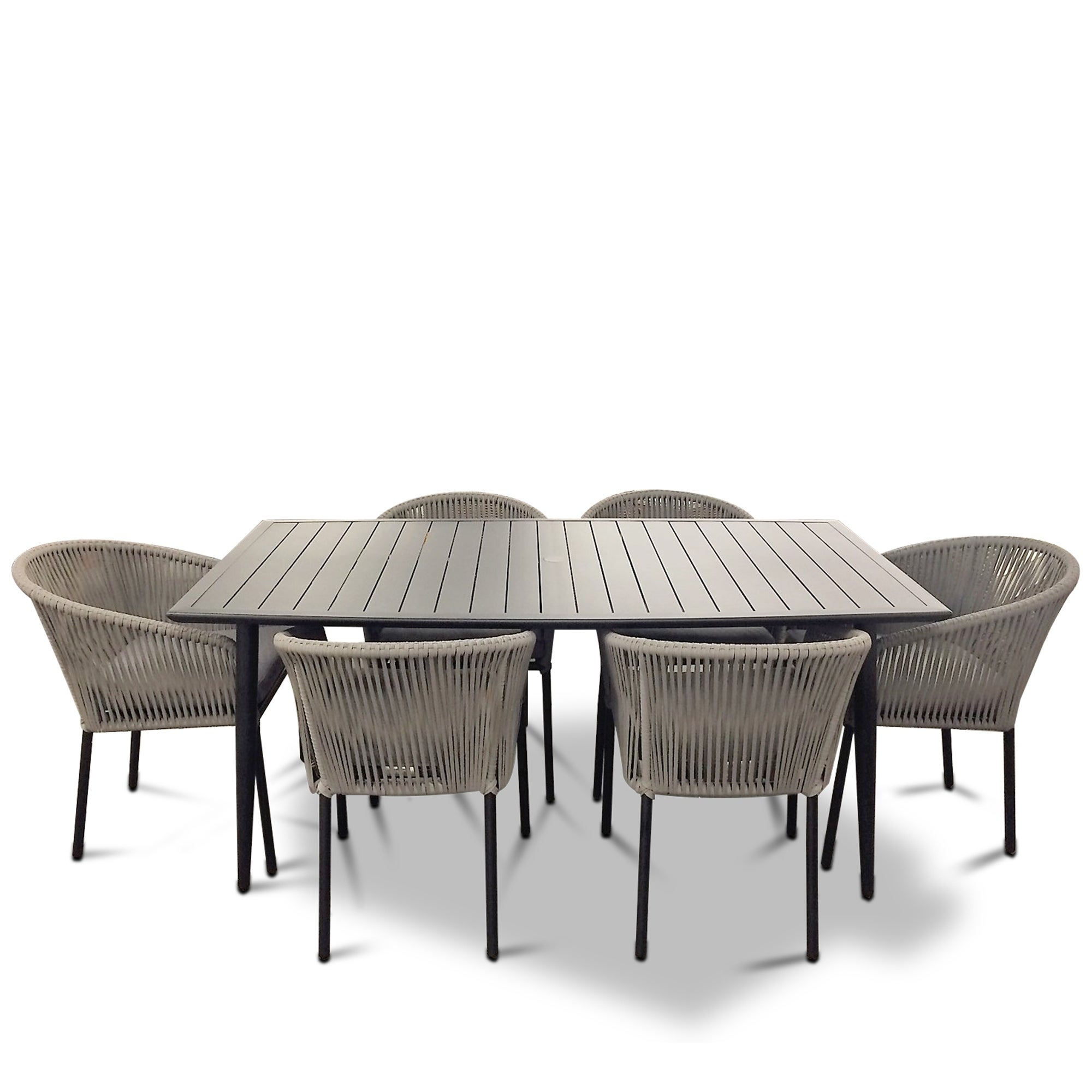 Courtyard Casual Osborne Black Aluminum Outdoor Dining Set W Table And 6 Chairs With Cushions