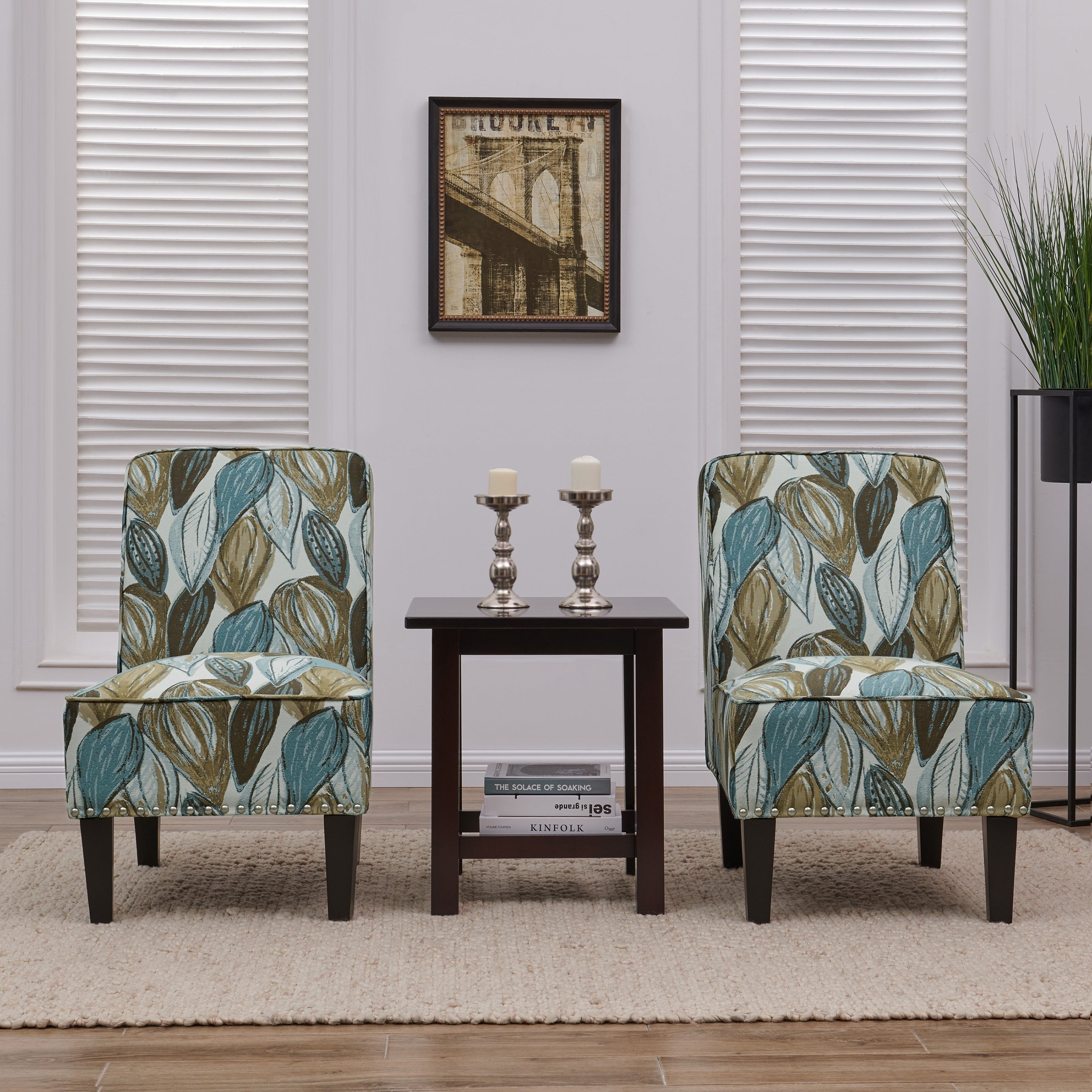 Accent Chairs.Copper Grove Couvin Blue Leaf Armless Accent Chairs Set Of 2