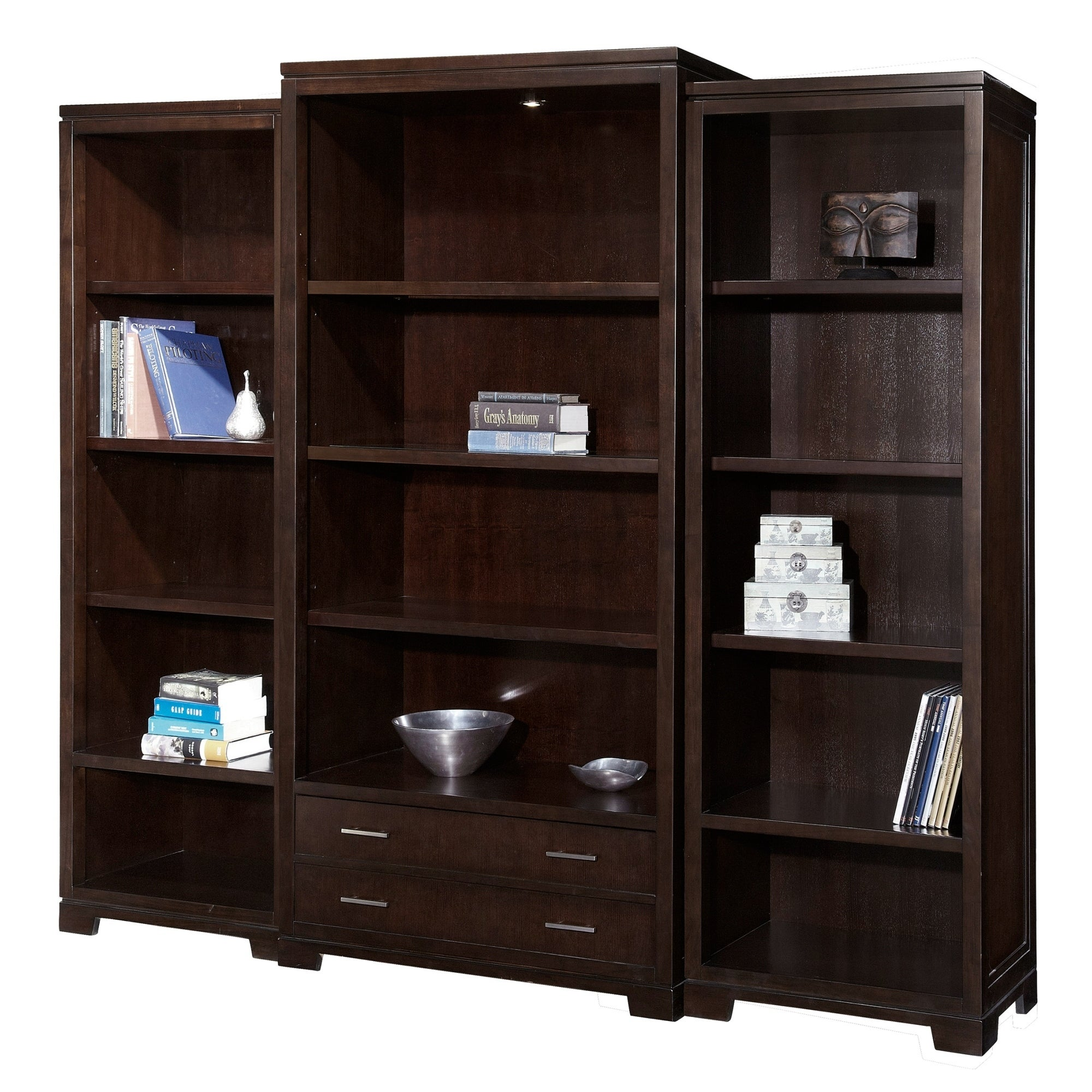 Shop Mocha Ash Veneer Wood Glass Storage Media Bookshelf With Drawer