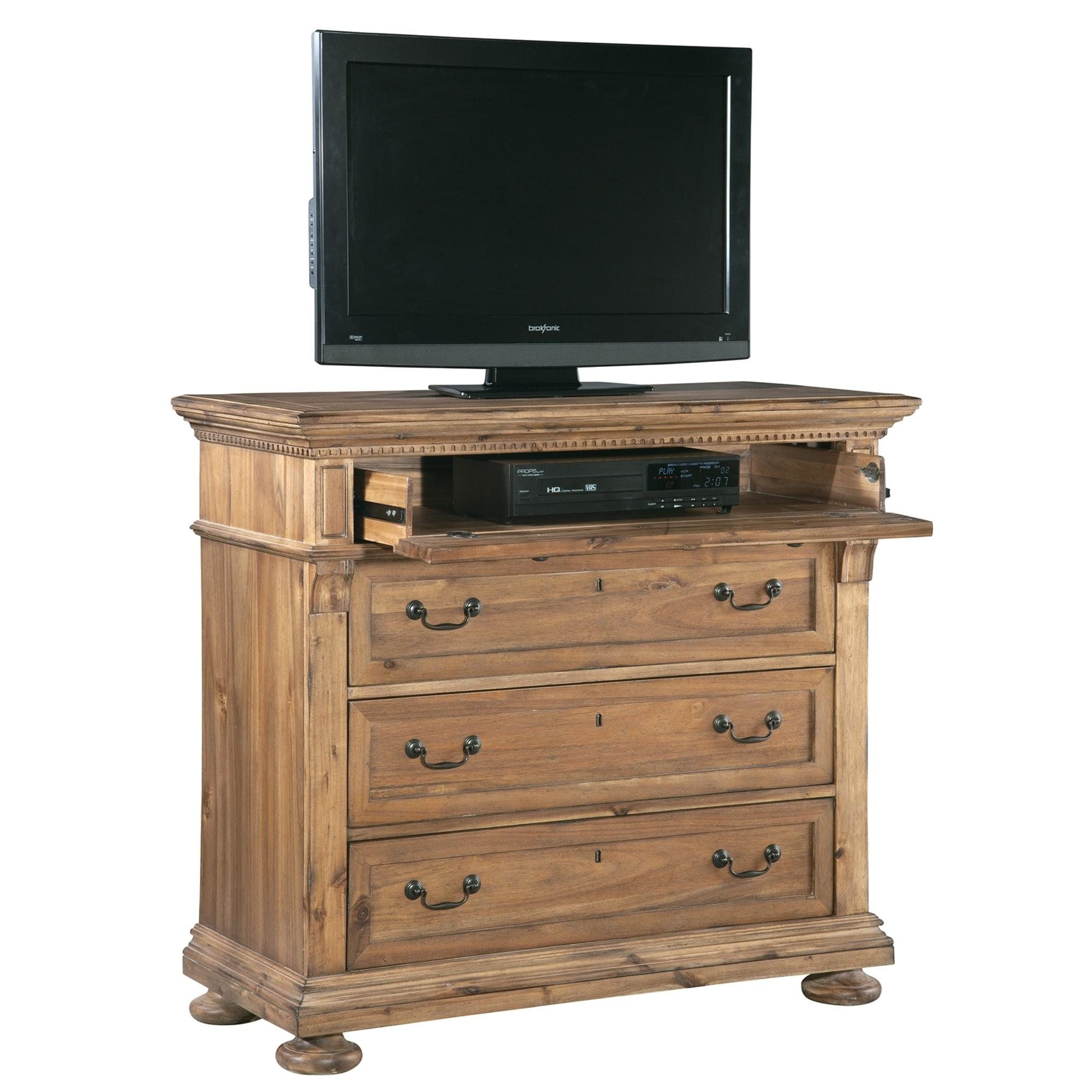 Shop wellington hall brown acacia wood veneer media bedroom dresser free shipping today overstock com 24229737