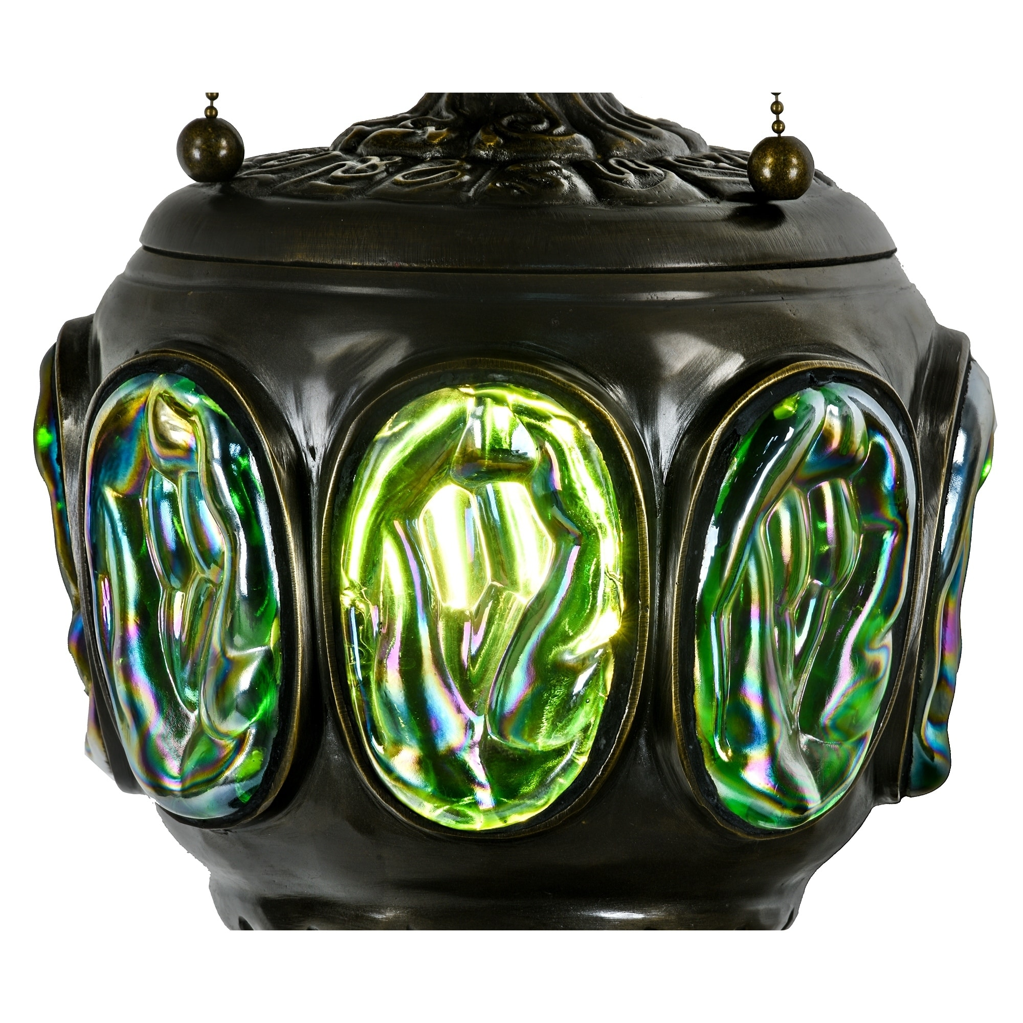 Cookiejar Food Bowlinggreen Tiffany Style Table Lamp Br Base Victorian Dragonfly Jeweled Double Lit Desk Stained Gl Home