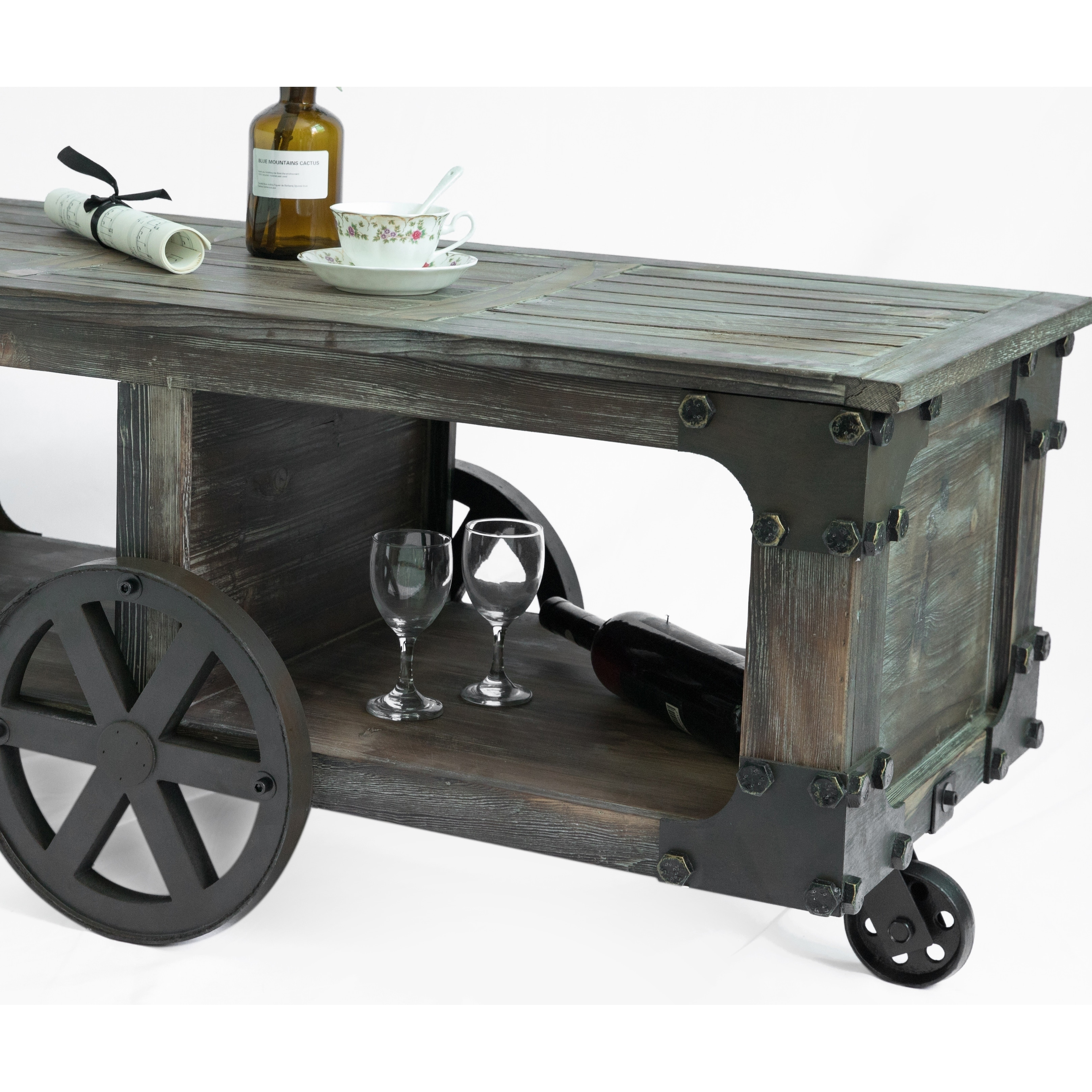 Rustic Wagon Style Coffee End Table Shelf And Wheels Free Shipping Today 24239002