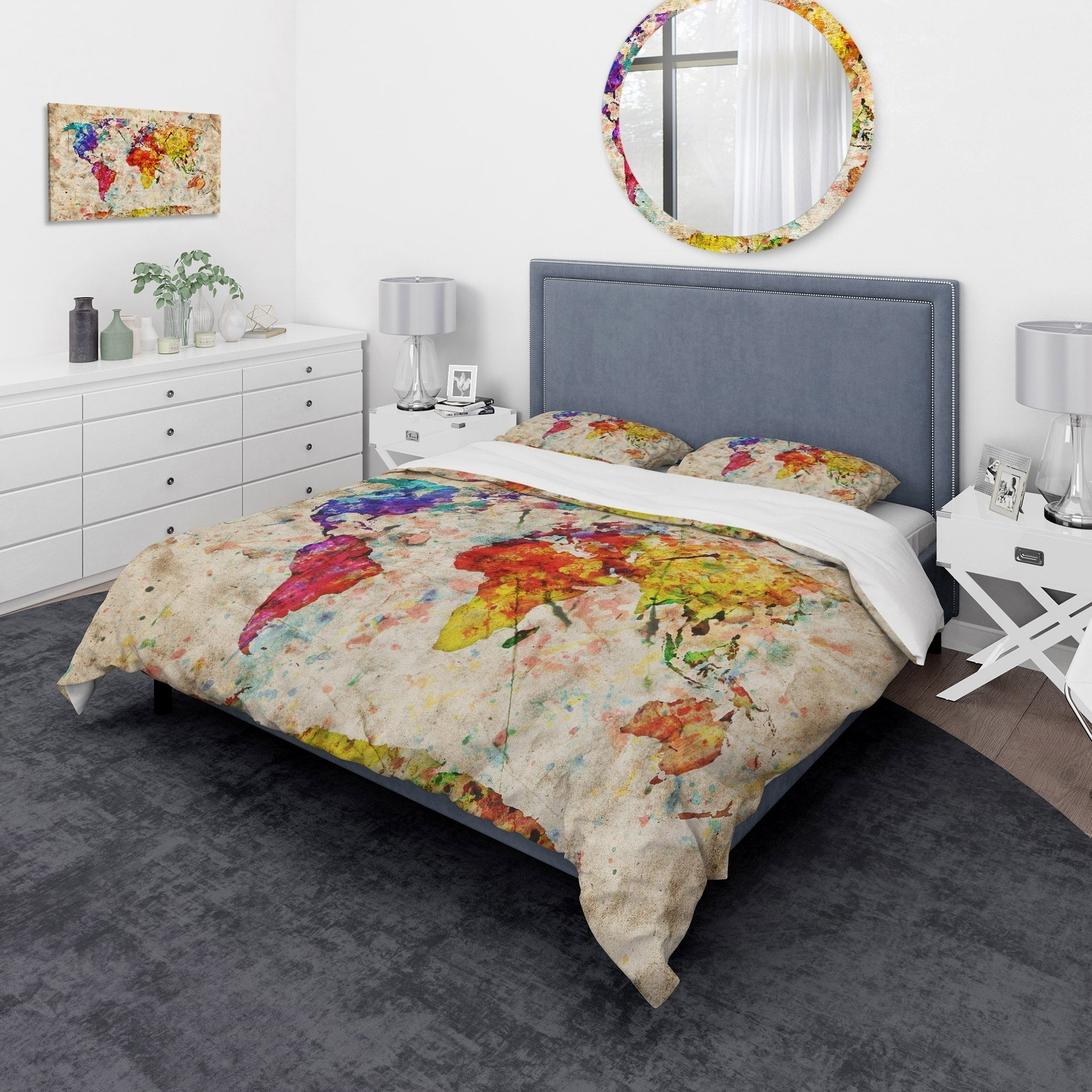 Shop Designart \'Vintage World Map Watercolor\' Large Map Bedding Set ...