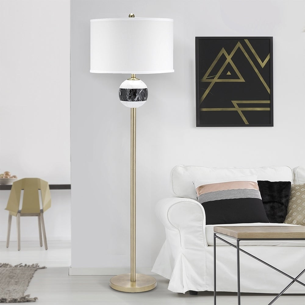 Shop Catalina Lighting Murrieta Mid Century Marble Stripe Pattern 3 Way Switch Floor Lamp Free Shipping Today 24239254