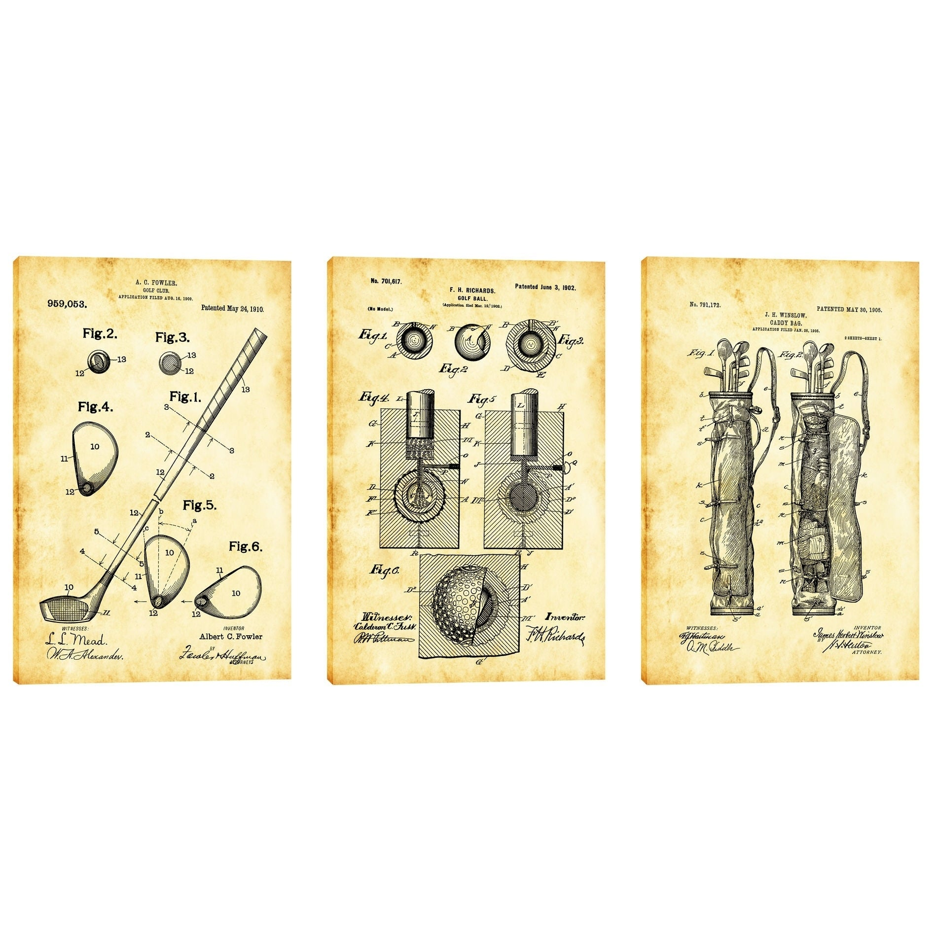 Shop epic graffiti golf 3 piece set vintage patent blueprint giclee canvas wall art 12 x 18 set of 3 free shipping today overstock 24239604