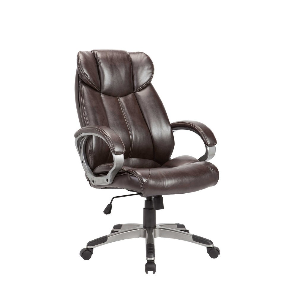 Homeroots furniture powder coated adjustable swivel office chair brown