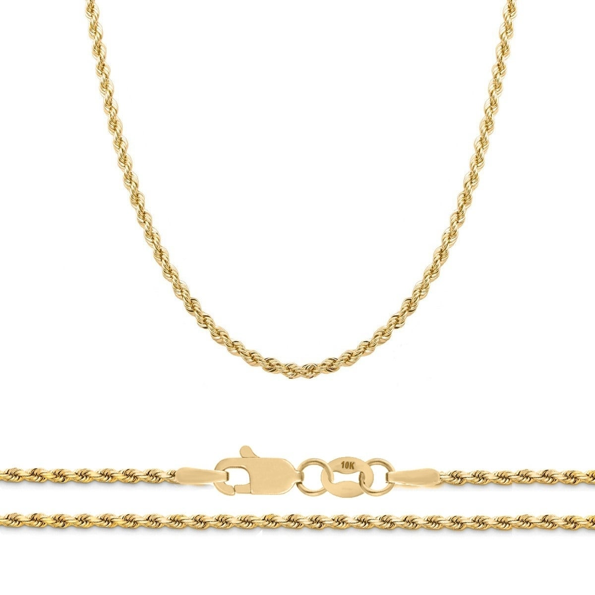 de52ef619c707 10K Yellow Gold 2.25mm Diamond Cut Rope Chain Necklace, 16