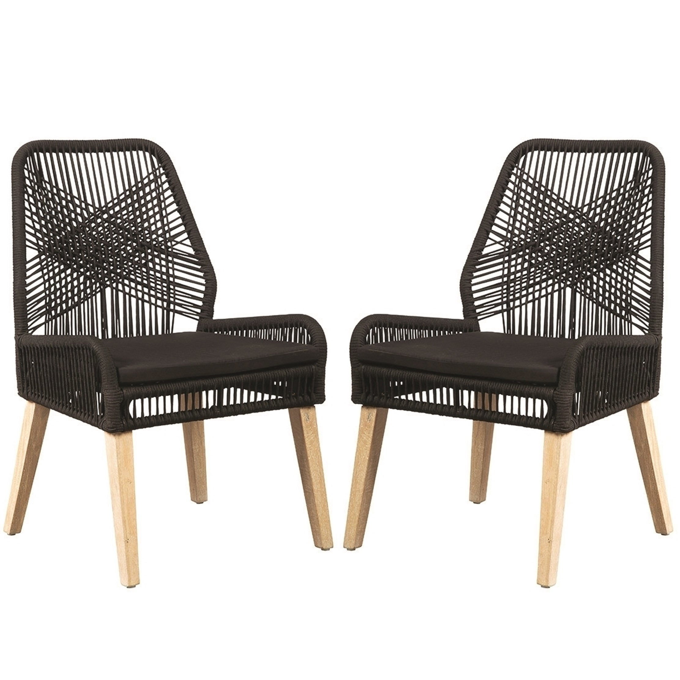 Nature Hand Crafted Design Black Woven Rope And Mango Wood Dining Chairs Set Of 2 Free Shipping Today 24250540