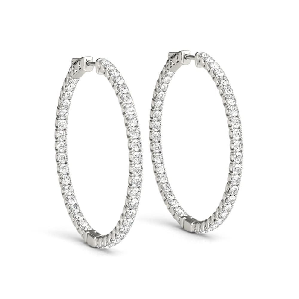 b972cb251 Shop TwoBirch Moissanite Inside Out Hoop Earrings in 14 Karat White Gold -  On Sale - Free Shipping Today - Overstock - 24251069