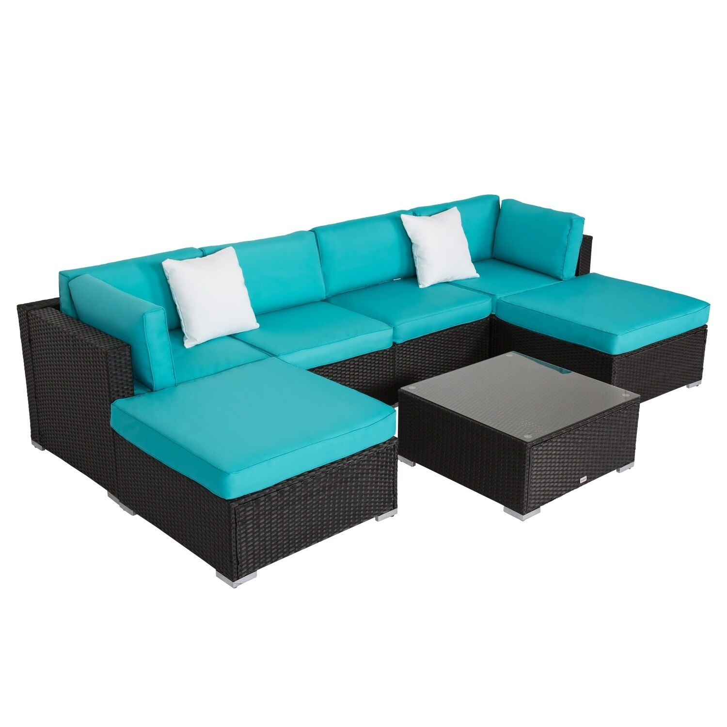 Kinbor 7 Pcs Outdoor Furniture Cushioned Rattan Wicker Sofa All Weather Patio Sectional Set