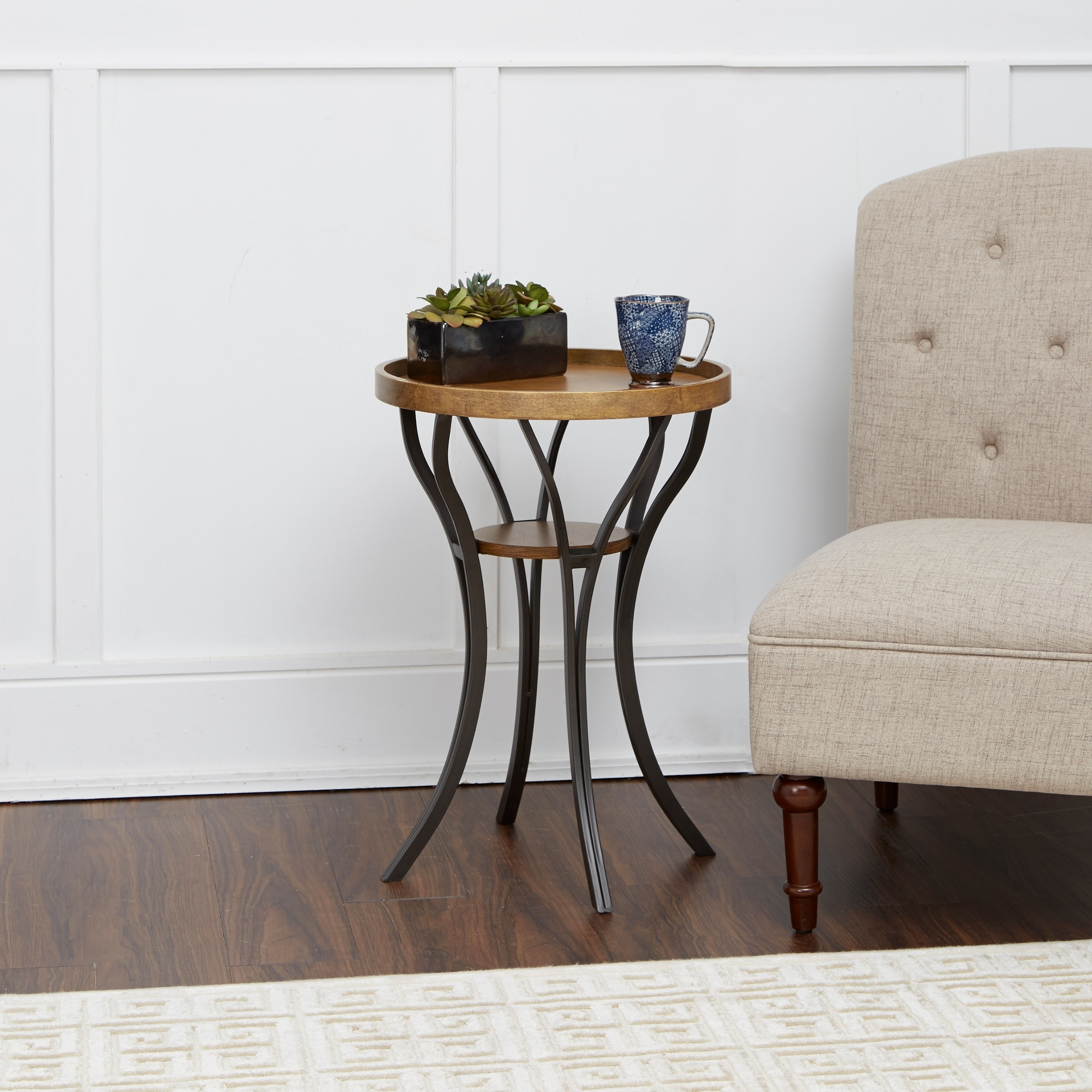 Leo Brown Black Wood Metal Accent Table