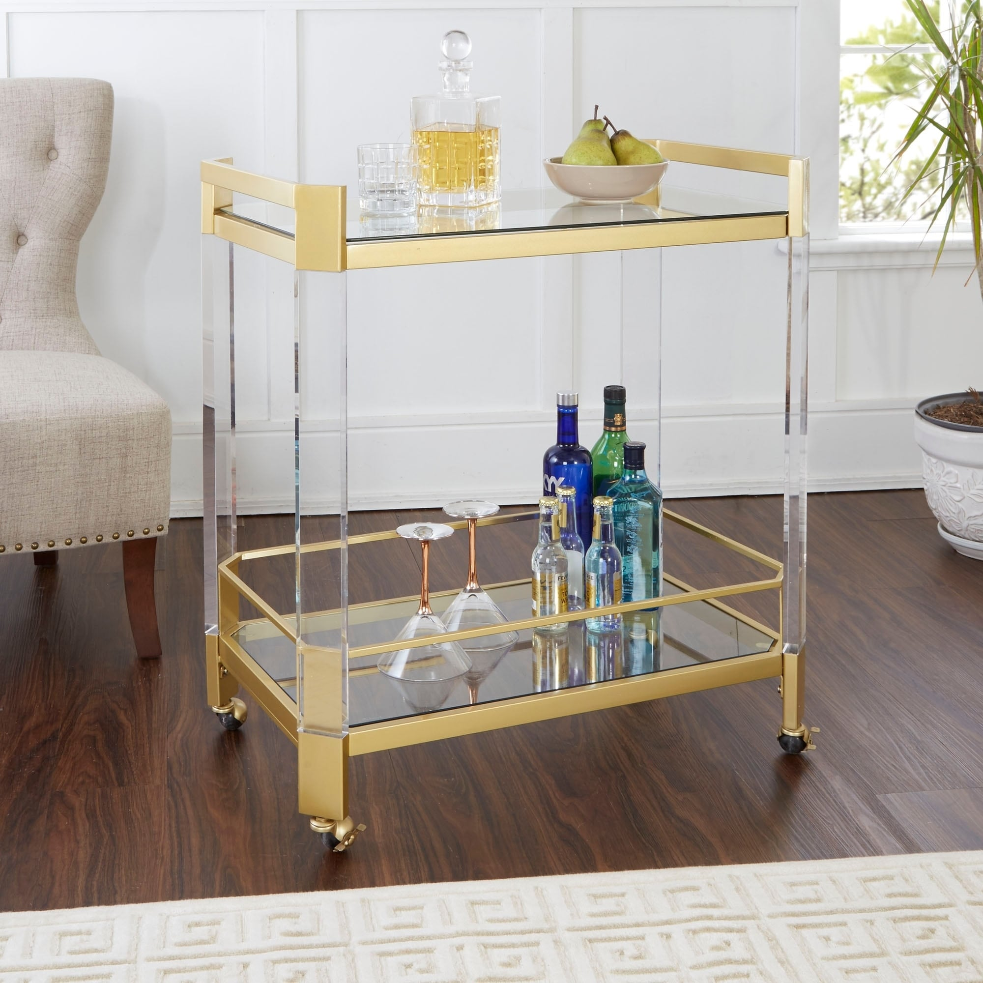 Huxley Acrylic And Gold Bar Cart With Glass Top On Sale Overstock 24256958