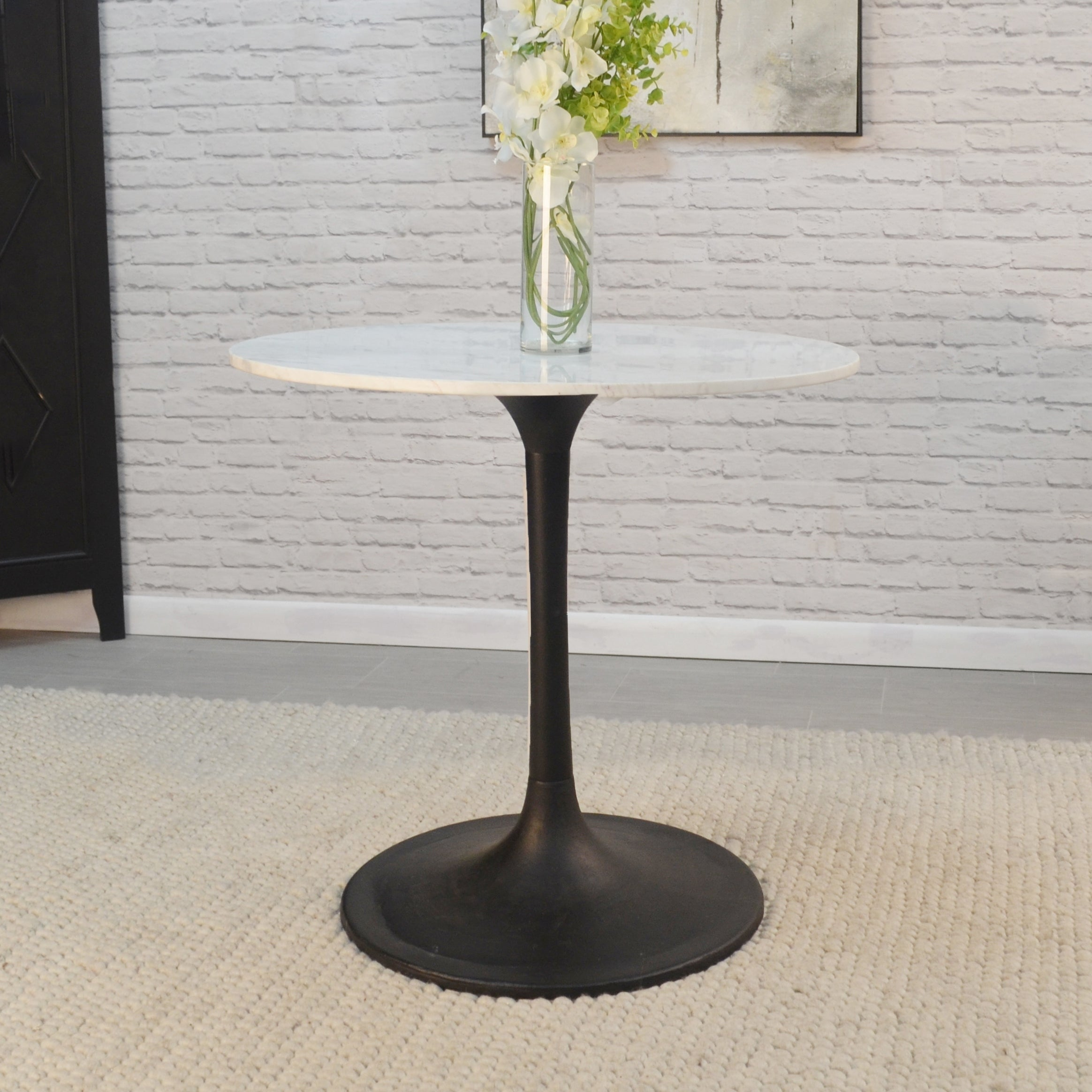 Givseppe 30 Inch Round Marble Top Dining Table