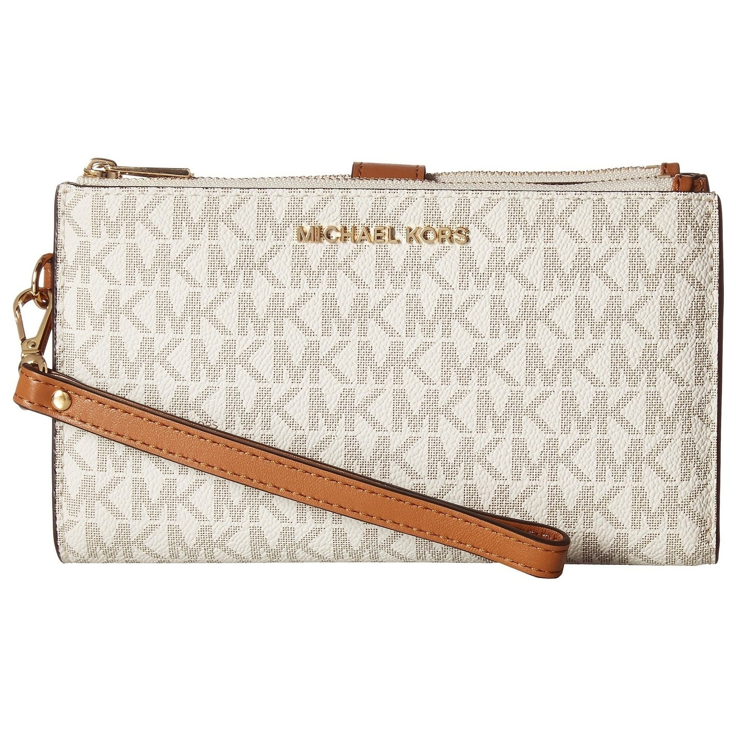 b2f9f8f6b0e9 Shop MICHAEL Michael Kors Signature Adele Double Zip iPhone 7 Plus Wristlet  Vanilla - On Sale - Ships To Canada - Overstock - 24259751