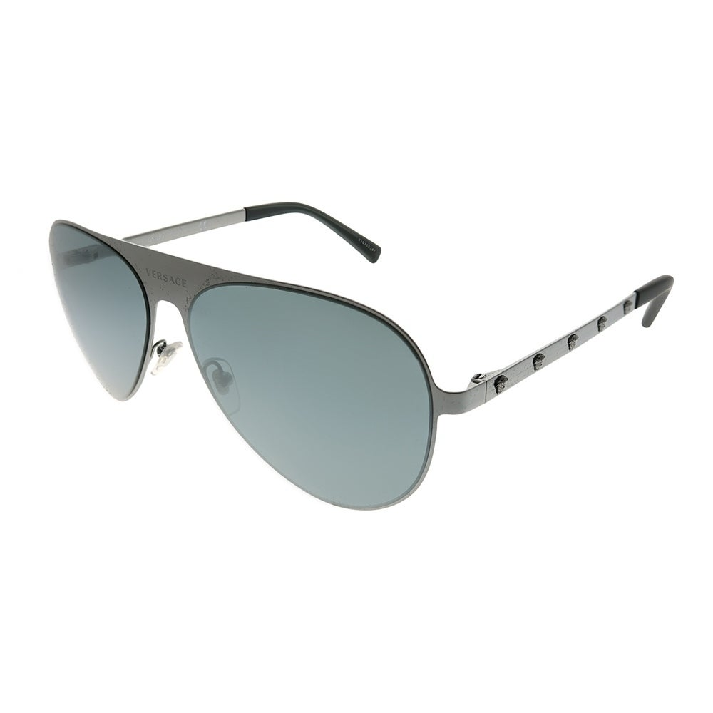 e8310fd2673d3 Versace Aviator VE 2189 12626G Unisex Brushed Gunmetal Frame Black Mirror  Lens Sunglasses